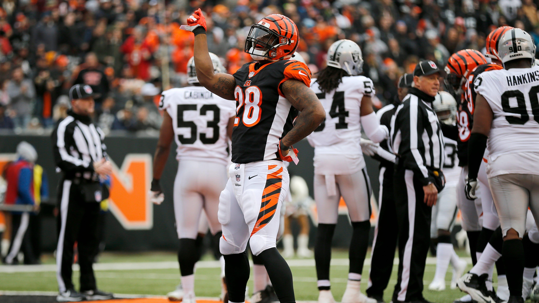 Cincinnati Bengals running back Joe Mixon (28)...
