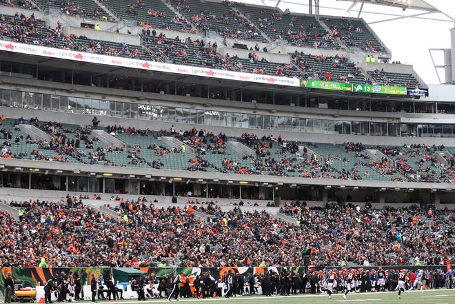 A view of the attendance in the second quarter of a Week 15 NFL football game against the Oakland Raiders, Sunday, Dec. 16, 2018, at Paul Brown Stadium in Cincinnati.