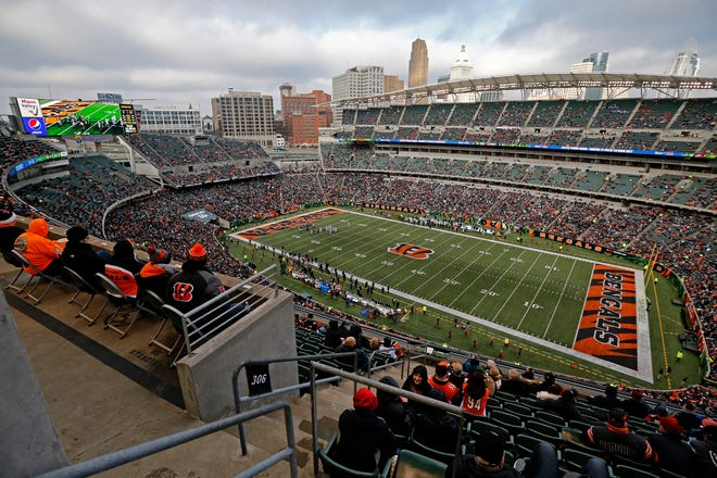 Thousands of seats remain empty during near the end of the third quarter of the NFL Week 15 game between the Cincinnati Bengals and the Oakland Raiders at Paul Brown Stadium in downtown Cincinnati on Sunday, Dec. 16, 2018. The Bengals won the final home game of the season, 30-16.