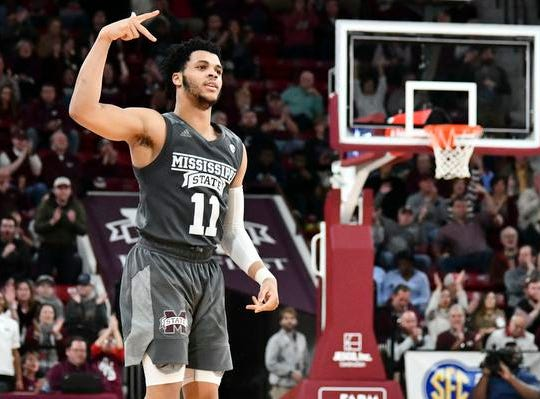 Dec 15, 2018; Starkville, MS, USA; Mississippi State Bulldogs guard Quinndary Weatherspoon (11) reacts after making a three-point shot against the Cincinnati Bearcats during the second half at Humphrey Coliseum. Mandatory Credit: Matt Bush-USA TODAY Sports