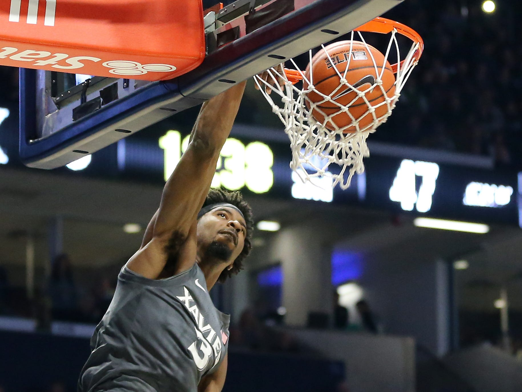 Xavier Musketeers guard Quentin Goodin (3) dunks in the second half of an NCAA college basketball game against the Eastern Kentucky Colonels, Saturday, Dec. 15, 2018, at Cintas Center in Cincinnati, Ohio