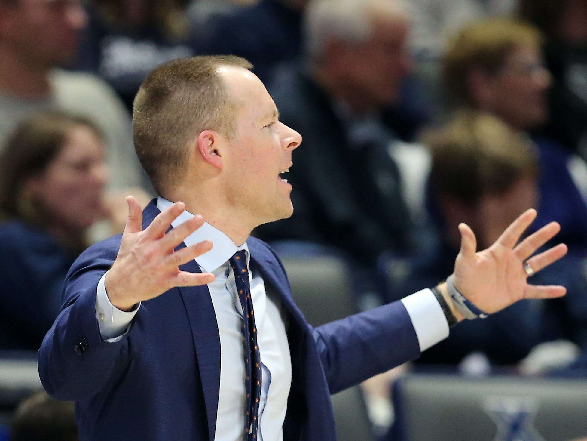 Xavier Musketeers head coach Travis Steele instructs the team in the second half of an NCAA college basketball game, Saturday, Dec. 15, 2018, at Cintas Center in Cincinnati, Ohio
