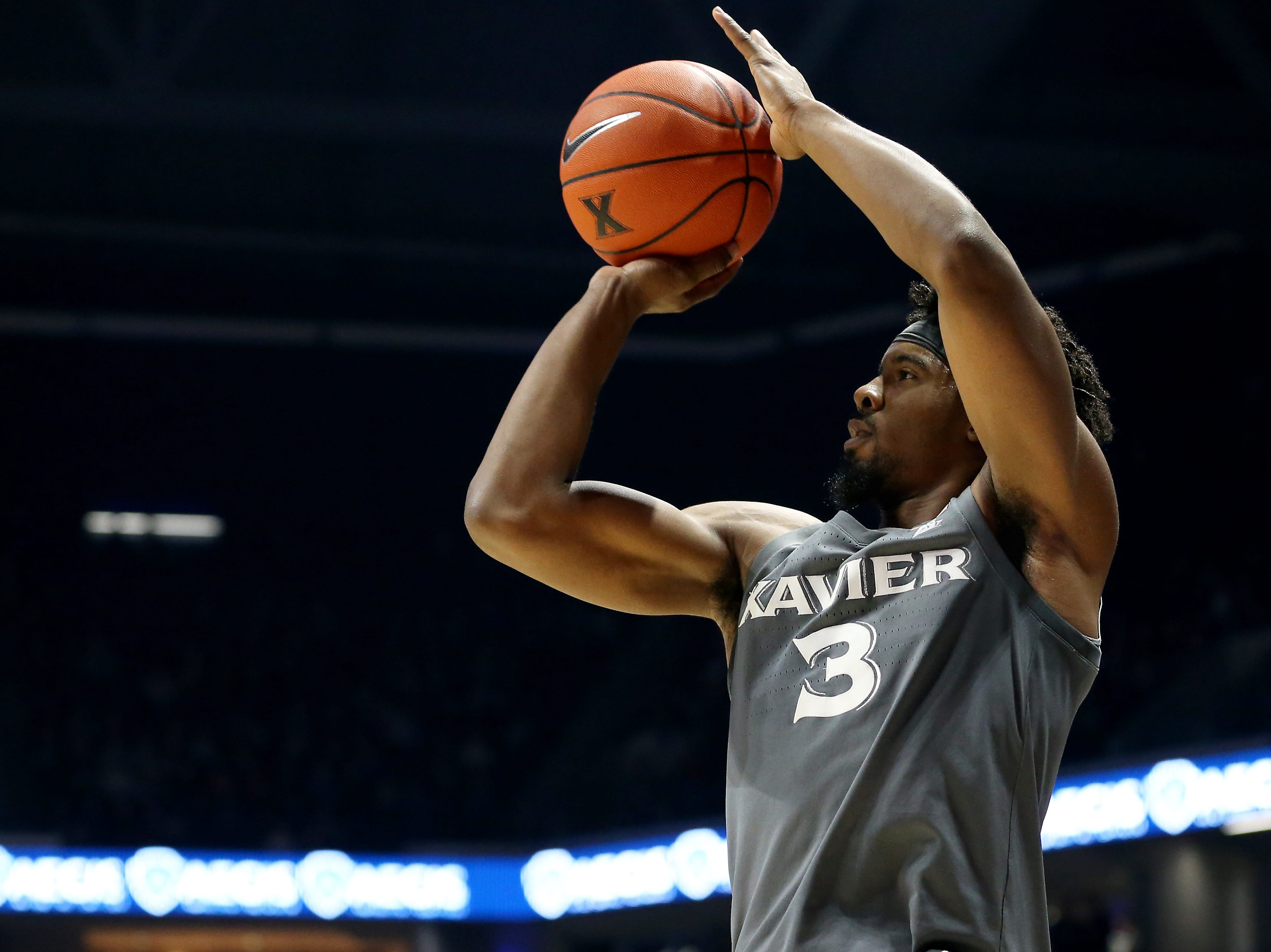 Xavier Musketeers guard Quentin Goodin (3) rises for a shot in the first half of an NCAA college basketball game against the Eastern Kentucky Colonels, Saturday, Dec. 15, 2018, at Cintas Center in Cincinnati, Ohio