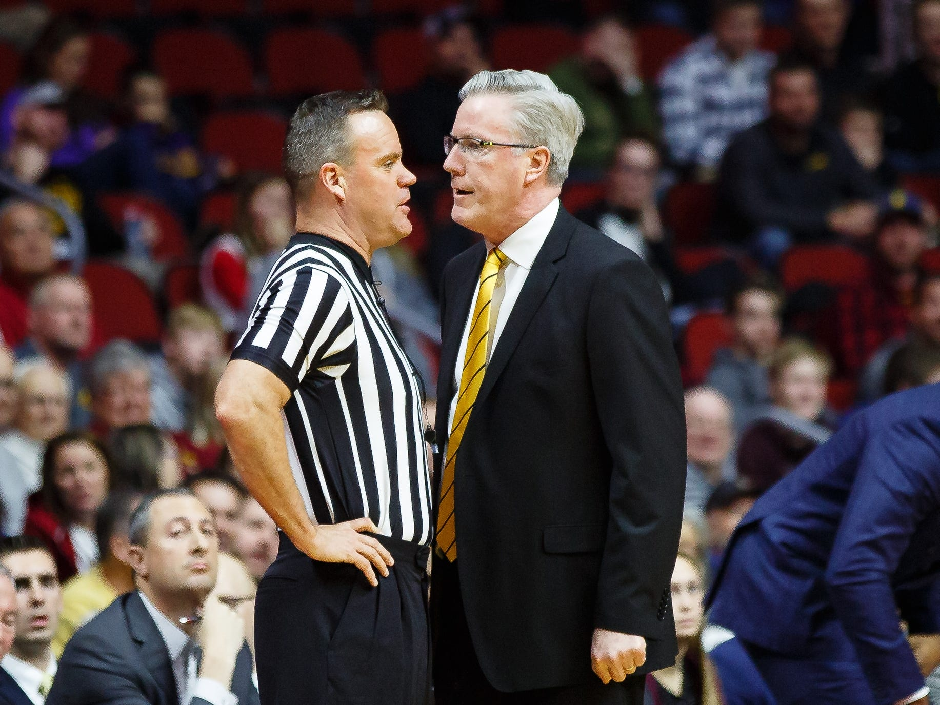 Iowa head coach Fran McCaffery argues a call during their basketball game at the Hy-Vee Classic on Saturday, Dec. 15, 2018, in Des Moines. Iowa takes a 39-18 lead over UNI into halftime.