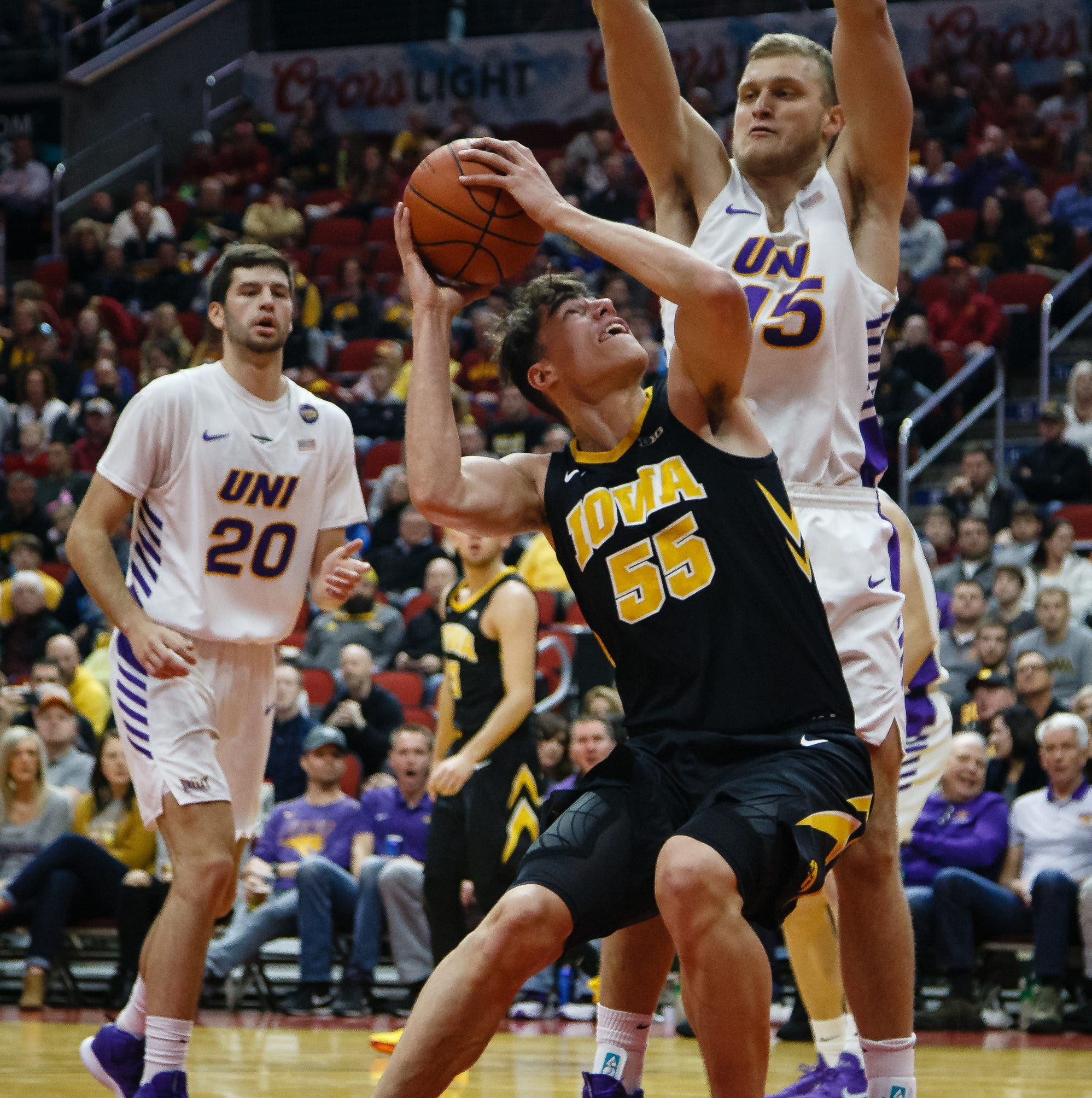 After two quiet outings, Iowa center Luka Garza makes Northern Iowa pay