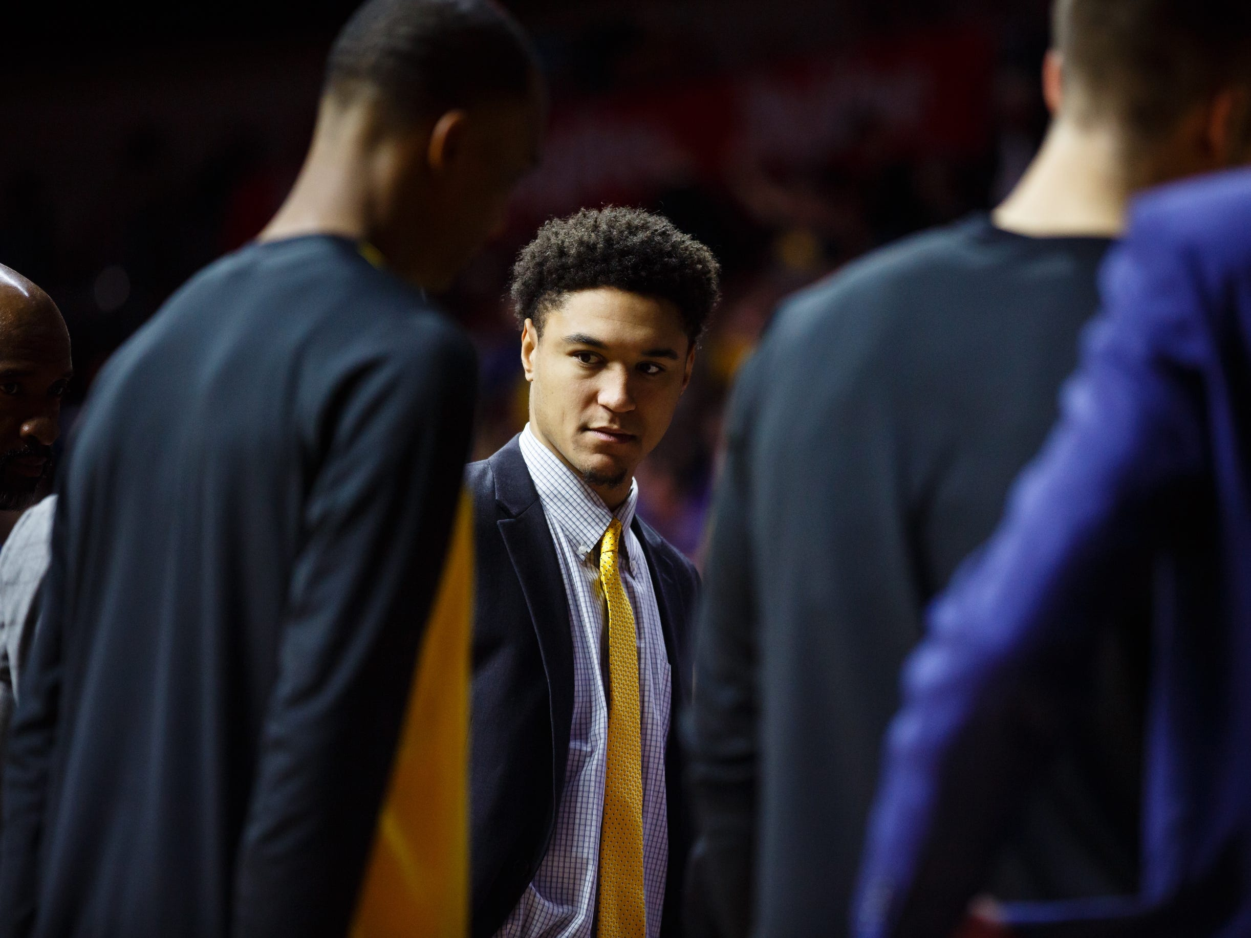 Iowa's Cordell Pemsl (35) sits on the bench during their basketball game at the Hy-Vee Classic on Saturday, Dec. 15, 2018, in Des Moines. Iowa would go on to defeat UNI 77-54.