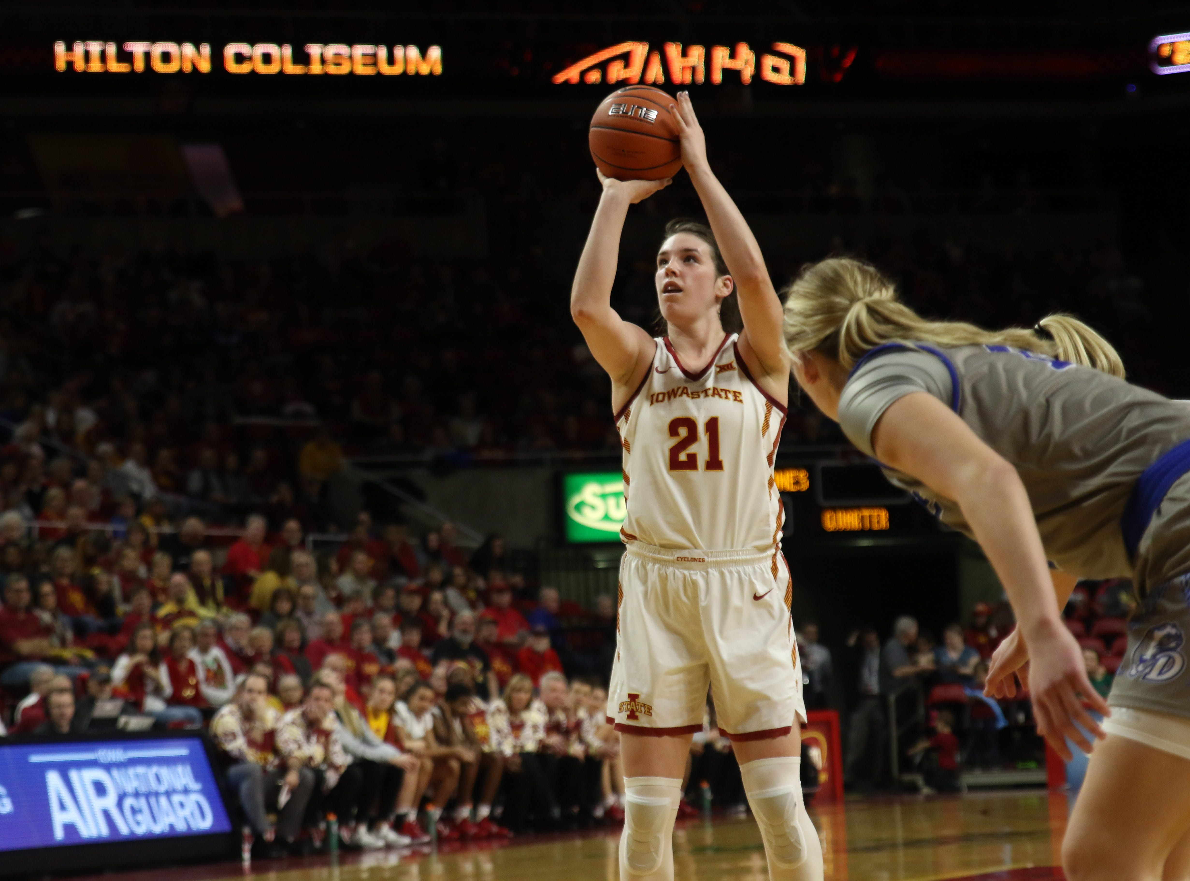 Iowa State senior Bridget Carleton attempts a free throw during the second quarter against Drake on Sunday.