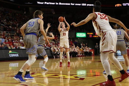 Bridget Carleton takes a 3-pointer during one of Iowa State's big wins this season against No. 25 Drake.