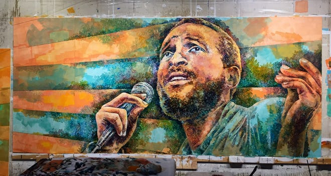 Artist Nicole Macdonald's Marvin Gaye painting, shown in in-progress form, before its installation.