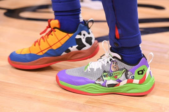 Pistons guard Langston Galloway donned a pair of Toy Story-themed shoes for Saturday night's game against the Celtics at Little Caesars Arena.