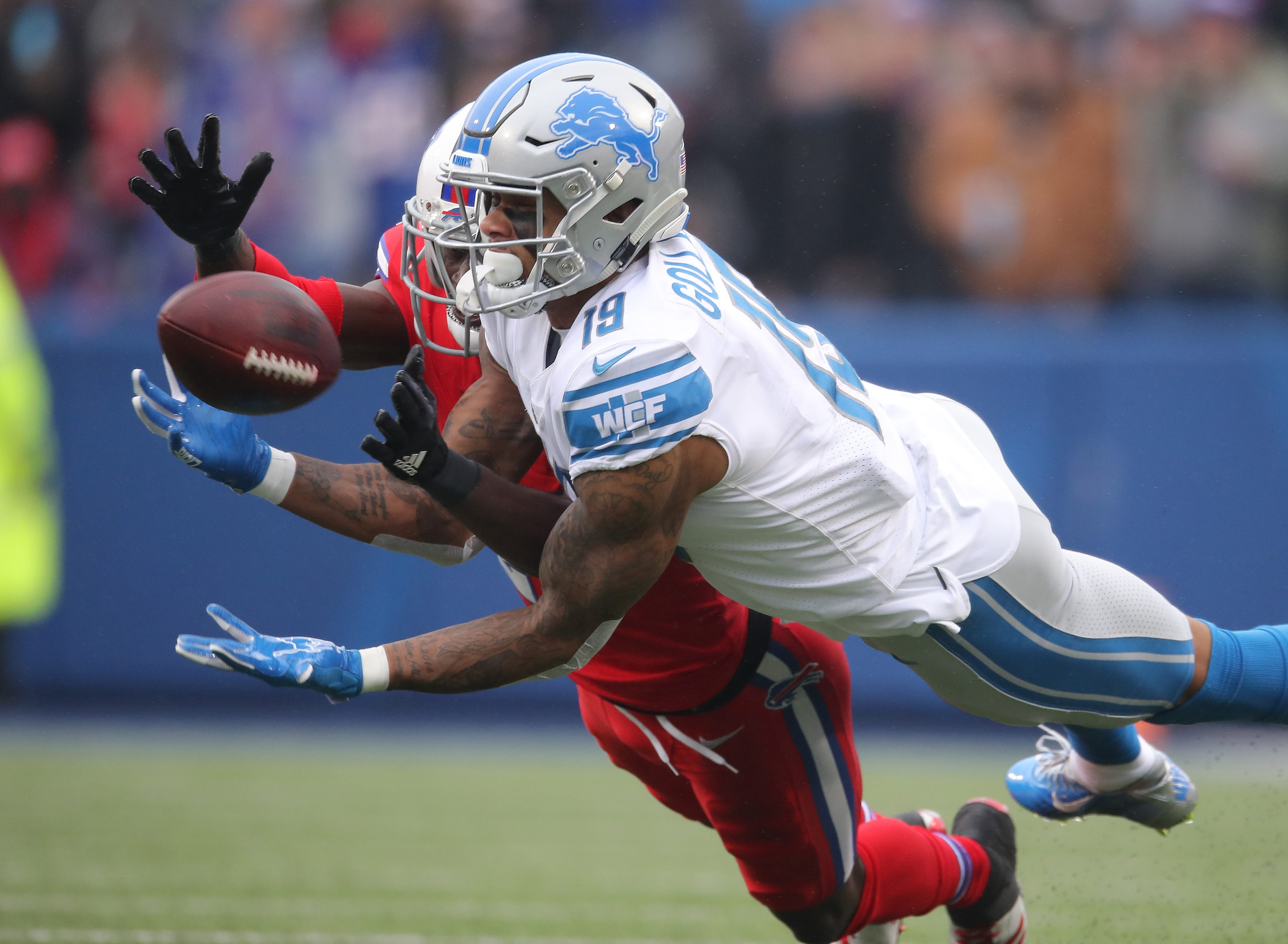 Lions wide receiver Kenny Golladay cannot hold on to a pass as Bills defensive back TreDavious White plays defense on Sunday, Dec. 16, 2018, in Orchard Park, N.Y.