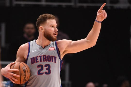 Pistons forward Blake Griffin celebrates during the fourth quarter of the Pistons' 113-104 win on Saturday, Dec. 15, 2018, at Little Caesars Arena.