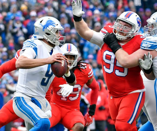 Bills defensive tackle Kyle Williams pressures Lions quarterback Matthew Stafford on a pass play in the second quarter on Sunday, Dec. 16, 2018, in Orchard Park, N.Y.