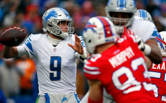 Lions quarterback Matthew Stafford looks to throw during the first half on Sunday, Dec. 16, 2018, in Orchard Park, N.Y.