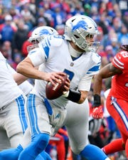 Lions quarterback Matthew Stafford runs out of the pocket in the second quarter on Sunday, Dec. 16, 2018, in Orchard Park, N.Y.