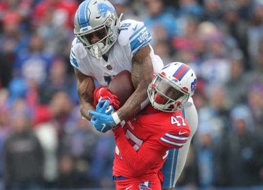 Lions wide receiver Kenny Golladay catches a reception as Bills defensive back Levi Wallace defends Sunday, Dec. 16, 2018, in Orchard Park, N.Y.