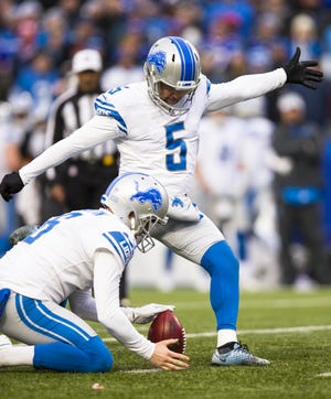 Lions kicker Matt Prater kicks a missed field goal attempt during the fourth quarter of the Lions' 14-13 loss on Sunday, Dec. 16, 2018, in Orchard Park, N.Y.