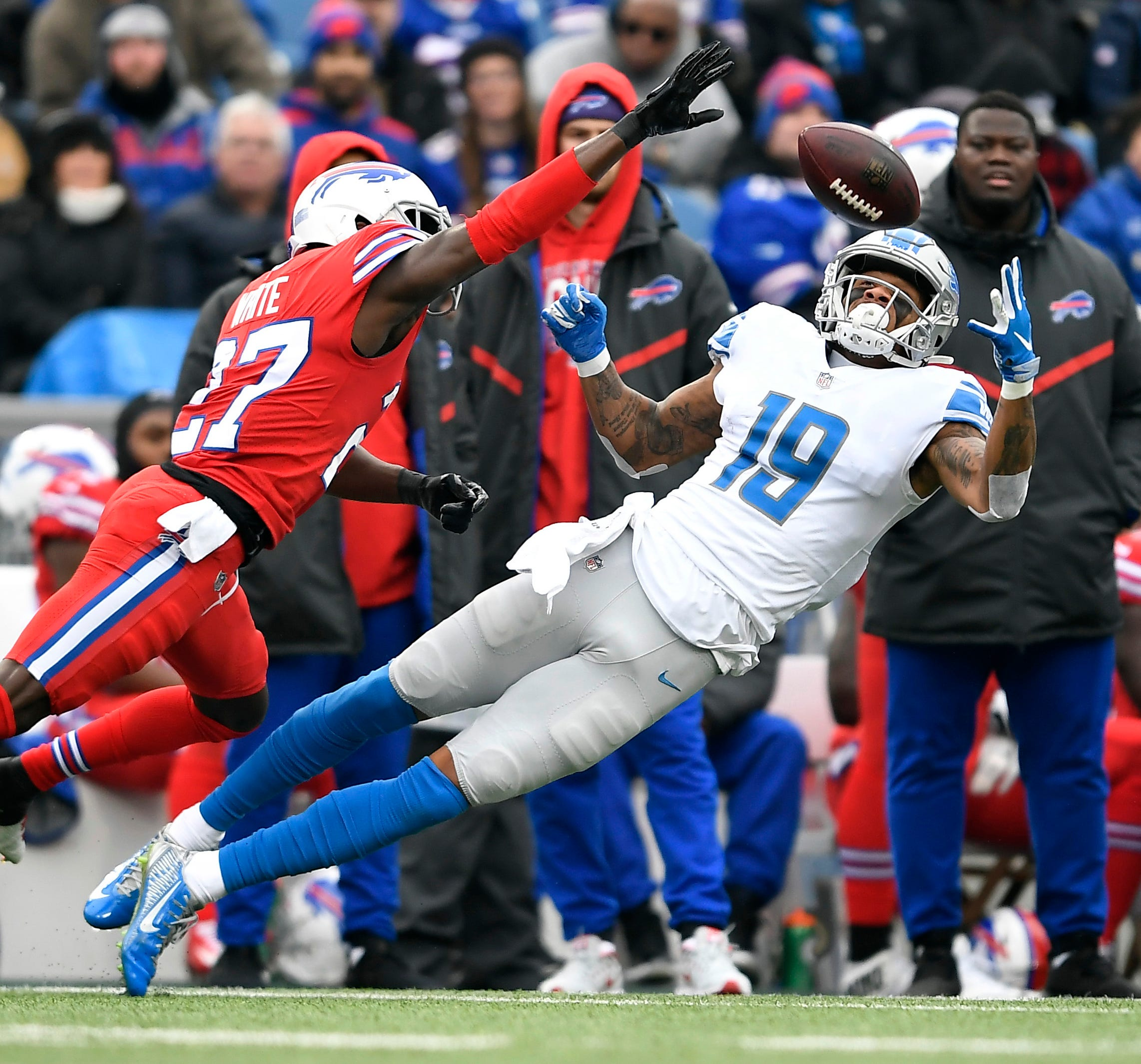 Lions wide receiver Kenny Golladay catches a pass against Bills cornerback Tre'Davious White during the first half Dec. 16, 2018, in Orchard Park, N.Y.