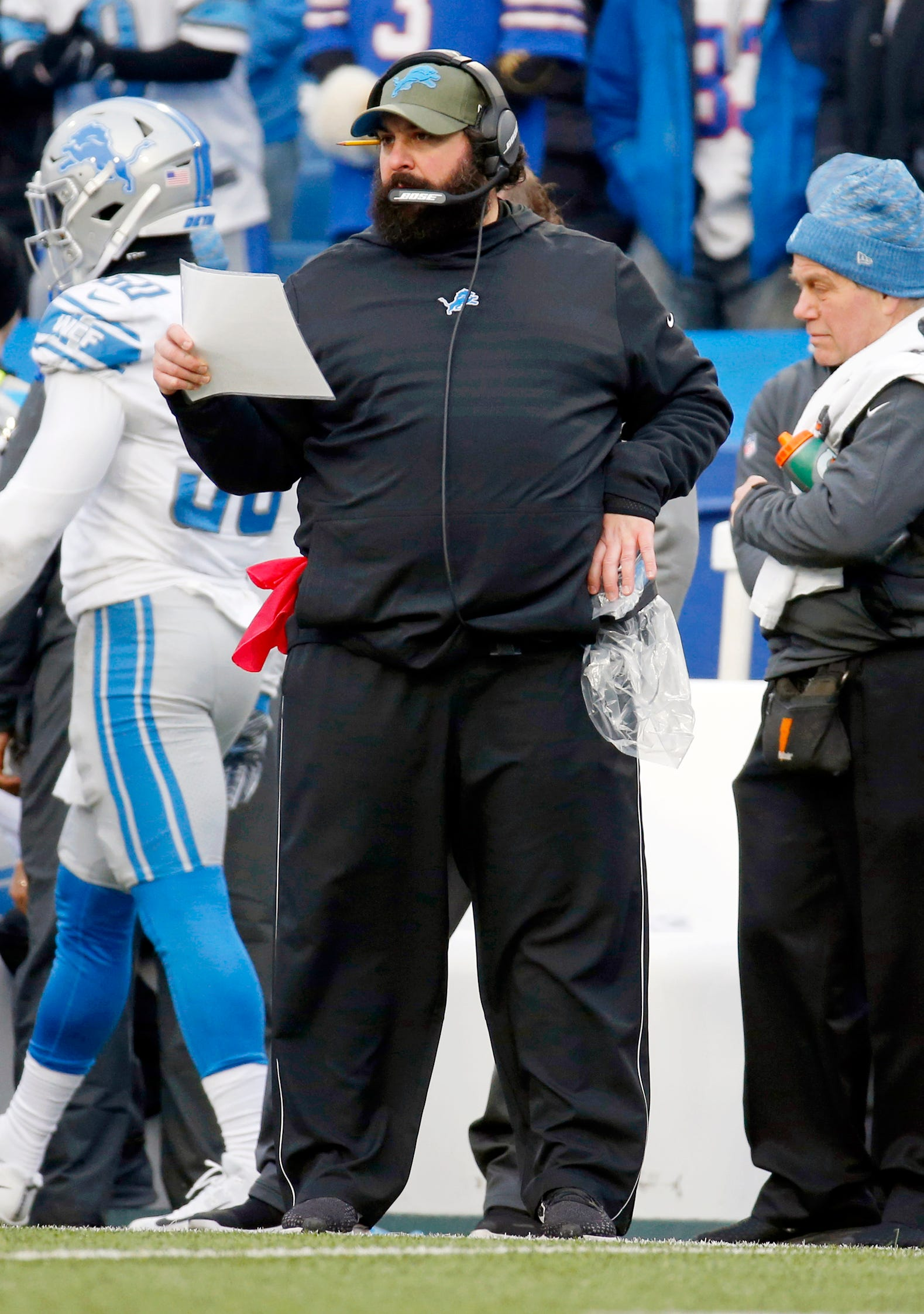 Lions coach Matt Patricia watches his team play during the second half of the Lions' 14-13 loss on Sunday, Dec. 16, 2018, in Orchard Park, N.Y.