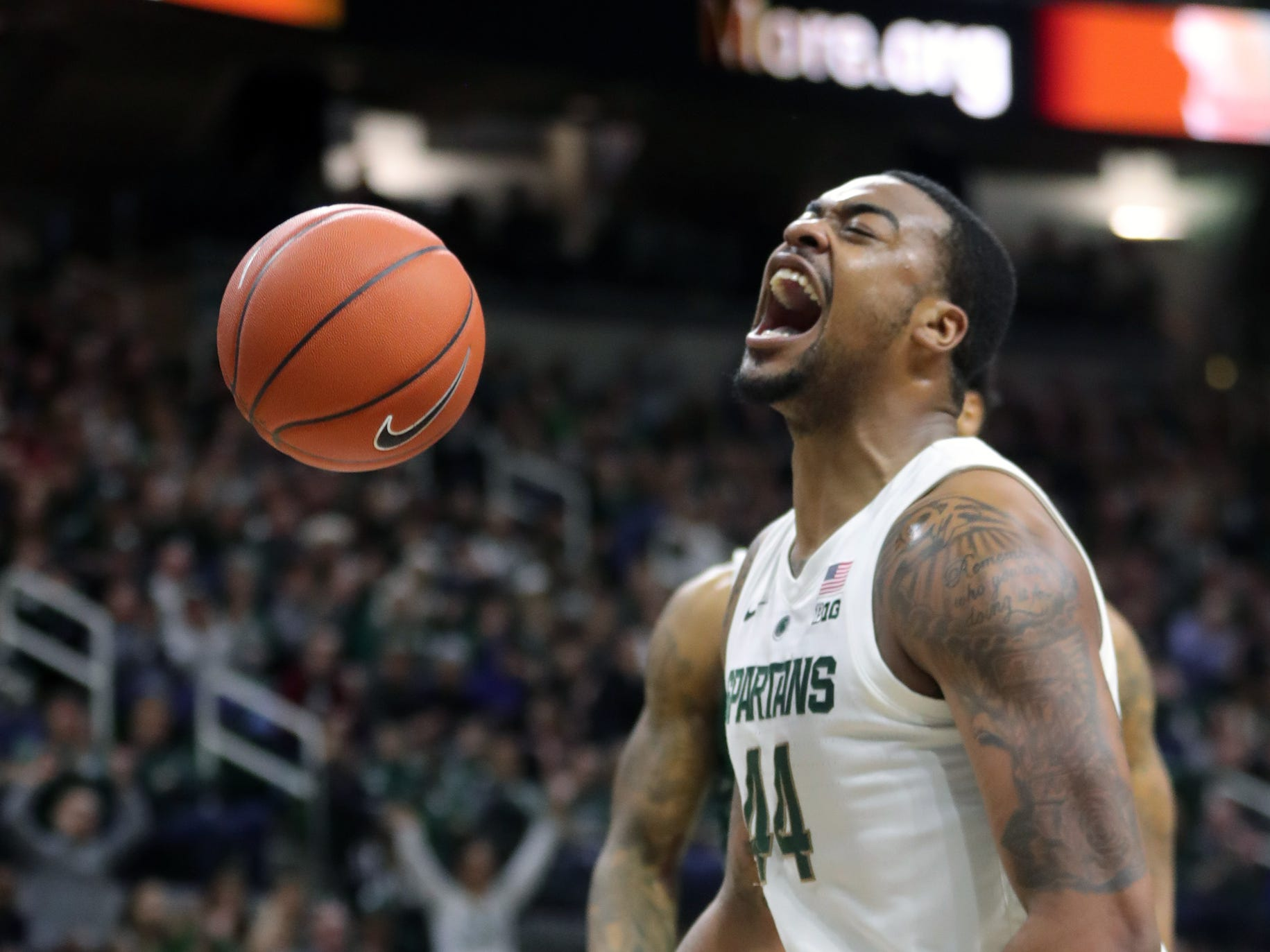 Michigan State forward Nick Ward reacts after scoring against Green Bay in the first half Sunday, Dec. 16, 2018 at the Breslin Center in East Lansing.