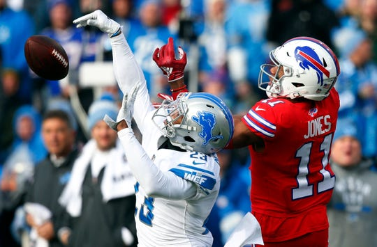 Lions cornerback Darius Slay knocks the ball away from Bills wide receiver Zay Jones during the first half on Sunday, Dec. 16, 2018, in Orchard Park, N.Y.