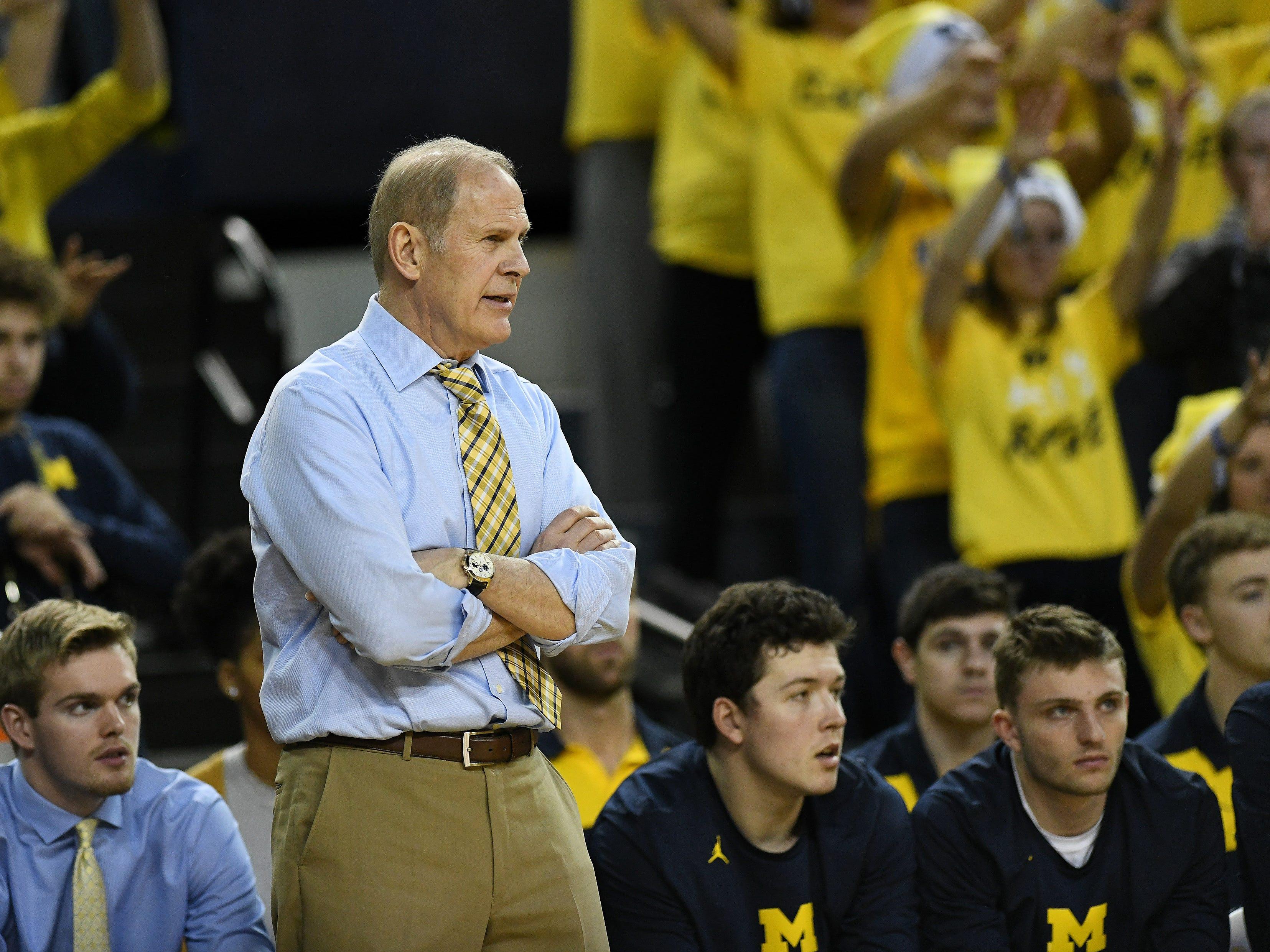 Michigan head coach John Beilein watches in the second half.