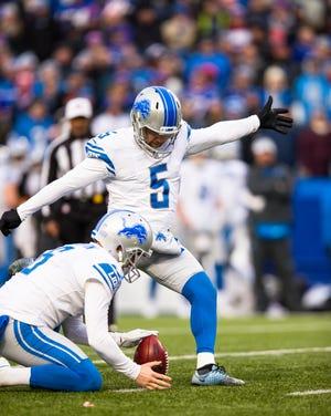 Lions kicker Matt Prater missed a 48-yard field goal attempt in the fourth quarter Sunday against the Bills.