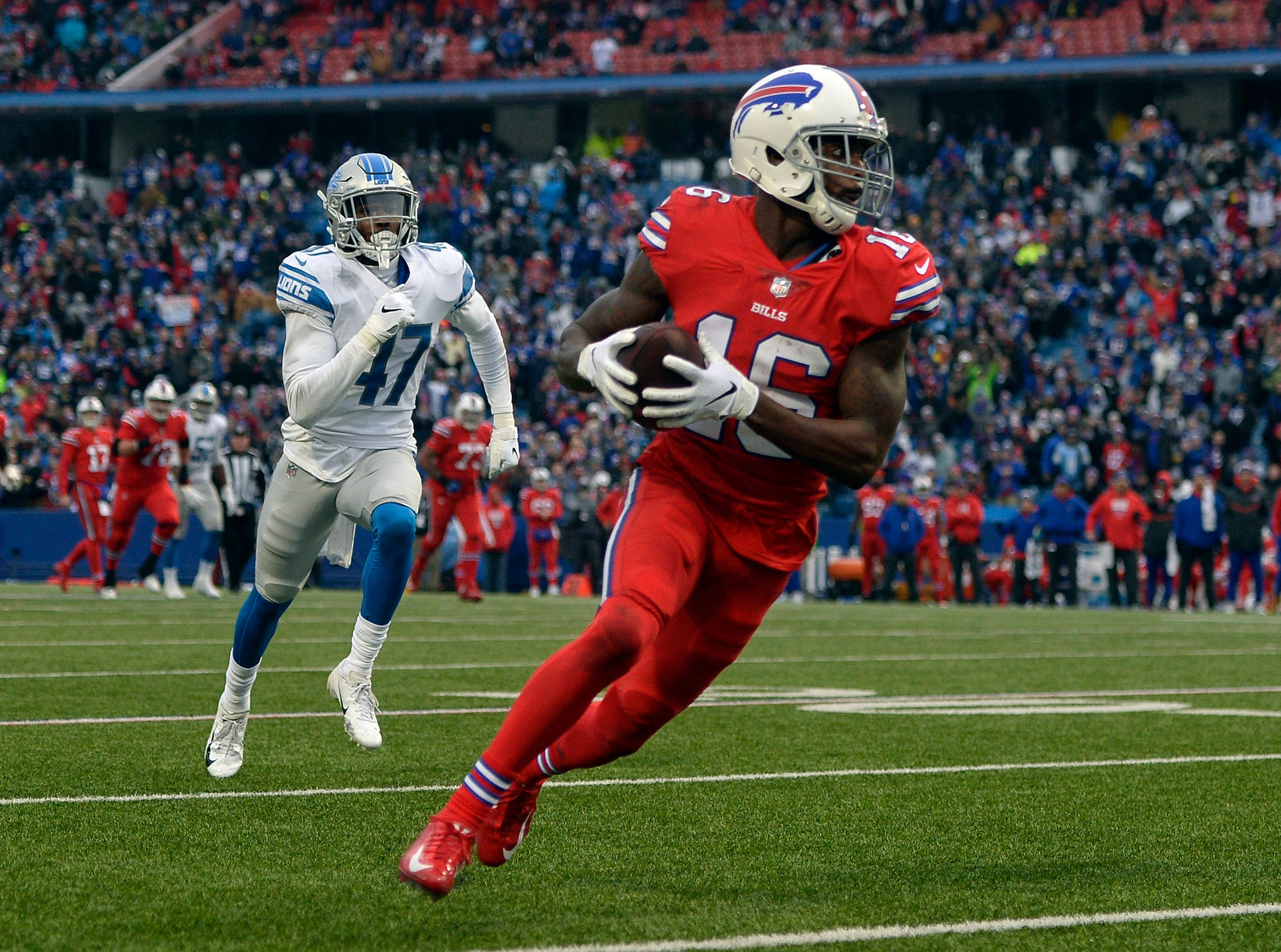 Buffalo Bills wide receiver Robert Foster (16) runs toward the end zone for a 42-yard touchdown during the second half of an NFL football game against the Detroit Lions, Sunday, Dec. 16, 2018, in Orchard Park, N.Y. Detroit Lost to Buffalo 14-13.