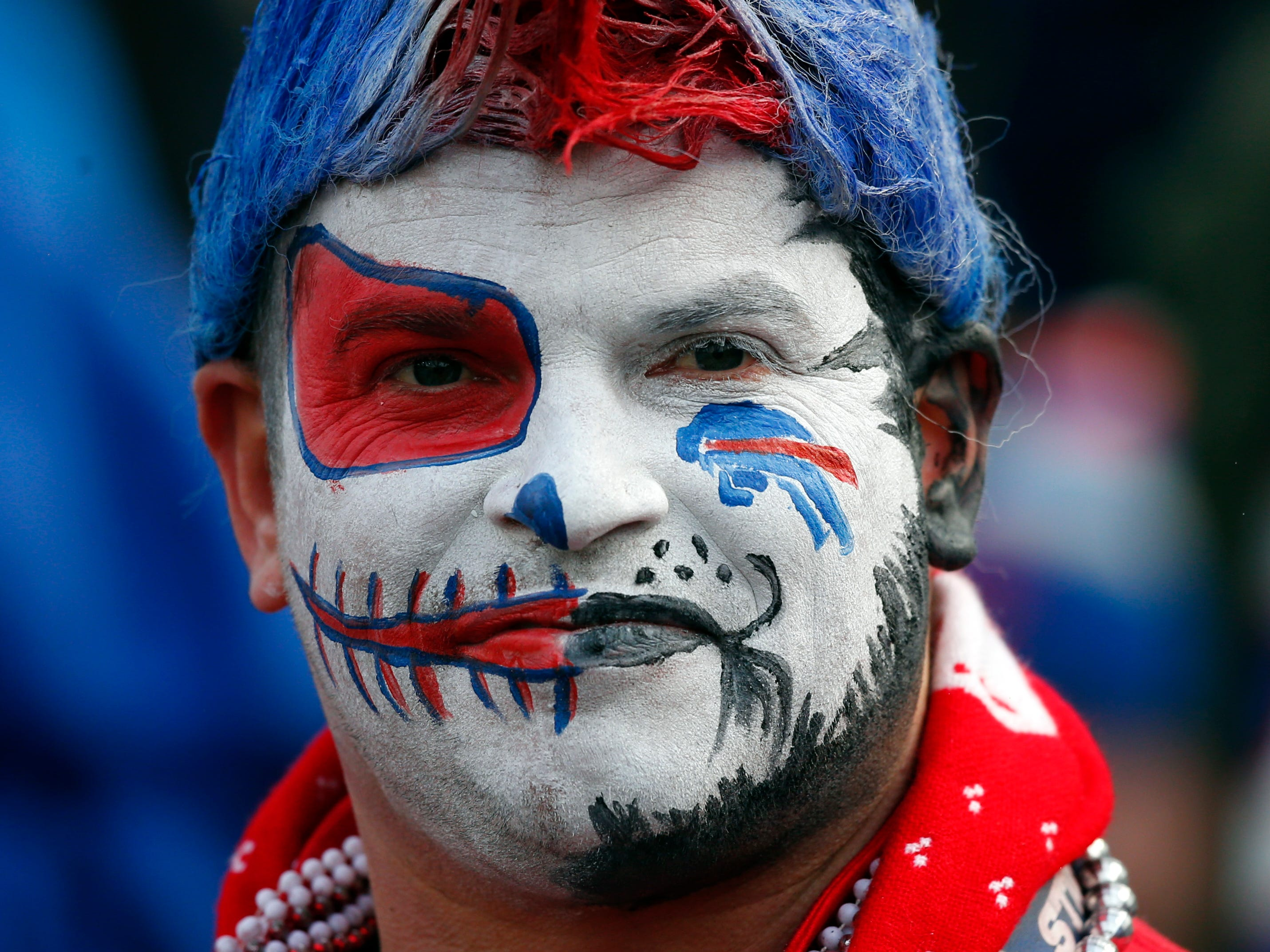 A Buffalo Bills fan watches during the second half.