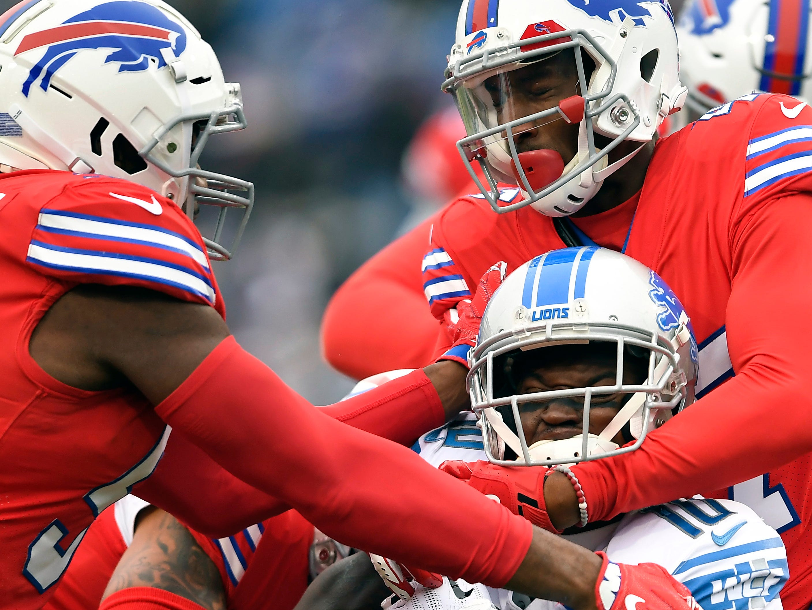 Detroit Lions wide receiver Brandon Powell (10) is tackled by the Buffalo Bills during the first half.