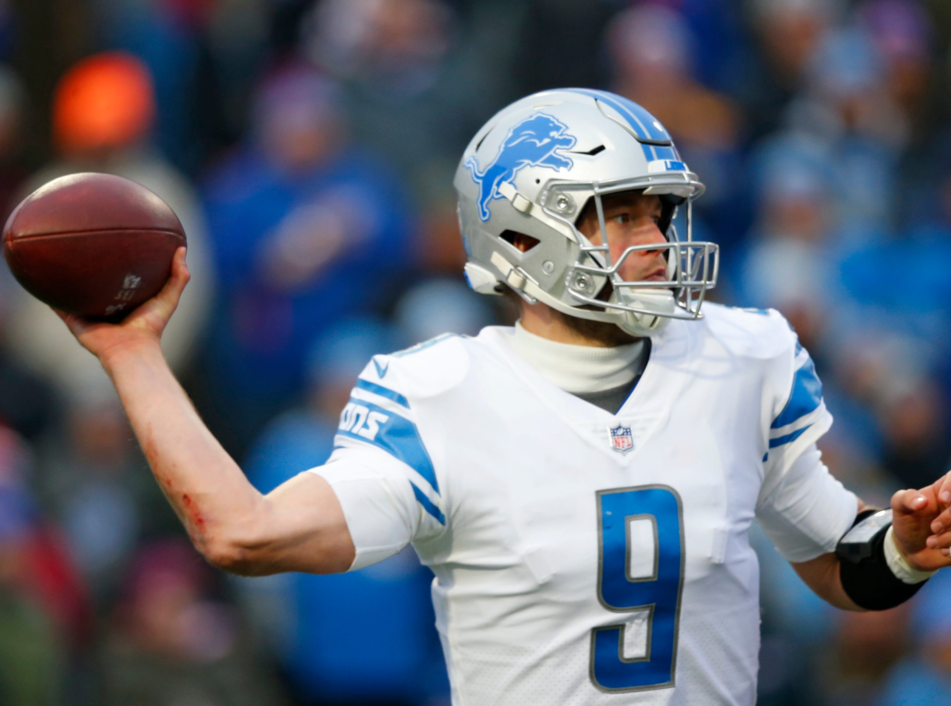 Detroit Lions quarterback Matthew Stafford throws during the second half.