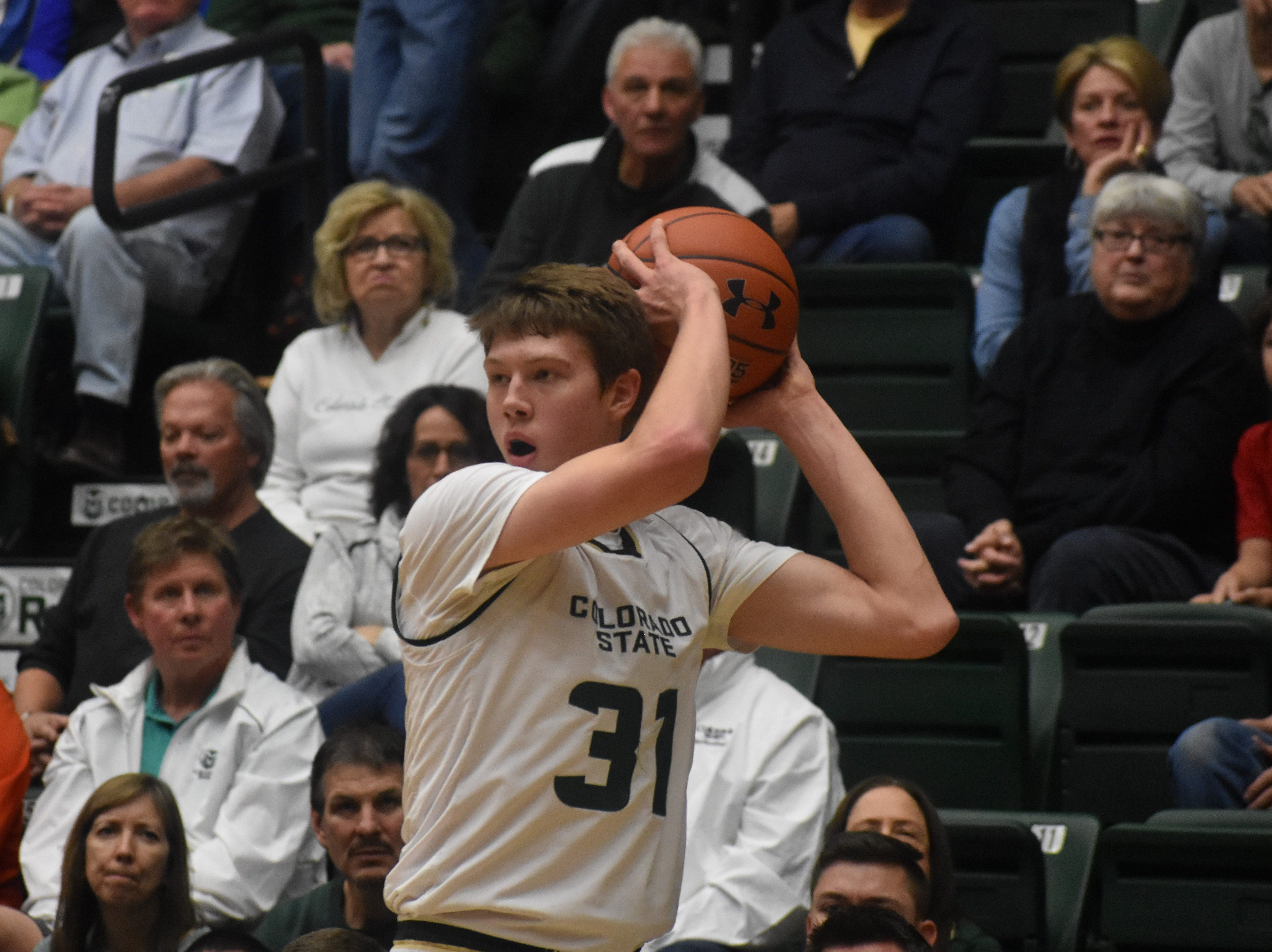 CSU forward Adam Thistlewood looks for a pass during Sunday's game against South Dakota at Moby Arena.