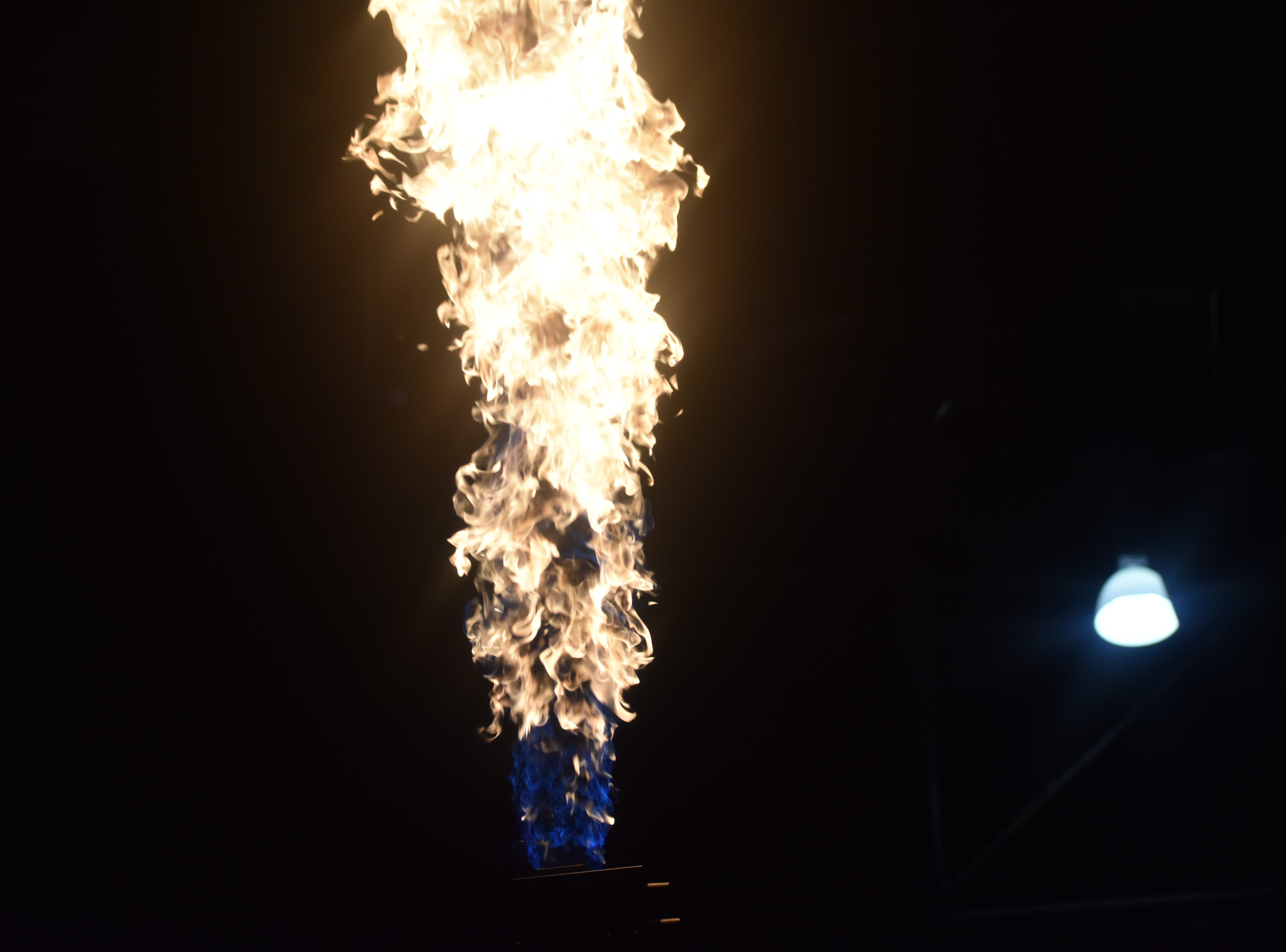 Pregame pyrotechnics before the CSU men's basketball game against South Dakota on Sunday at Moby Arena.