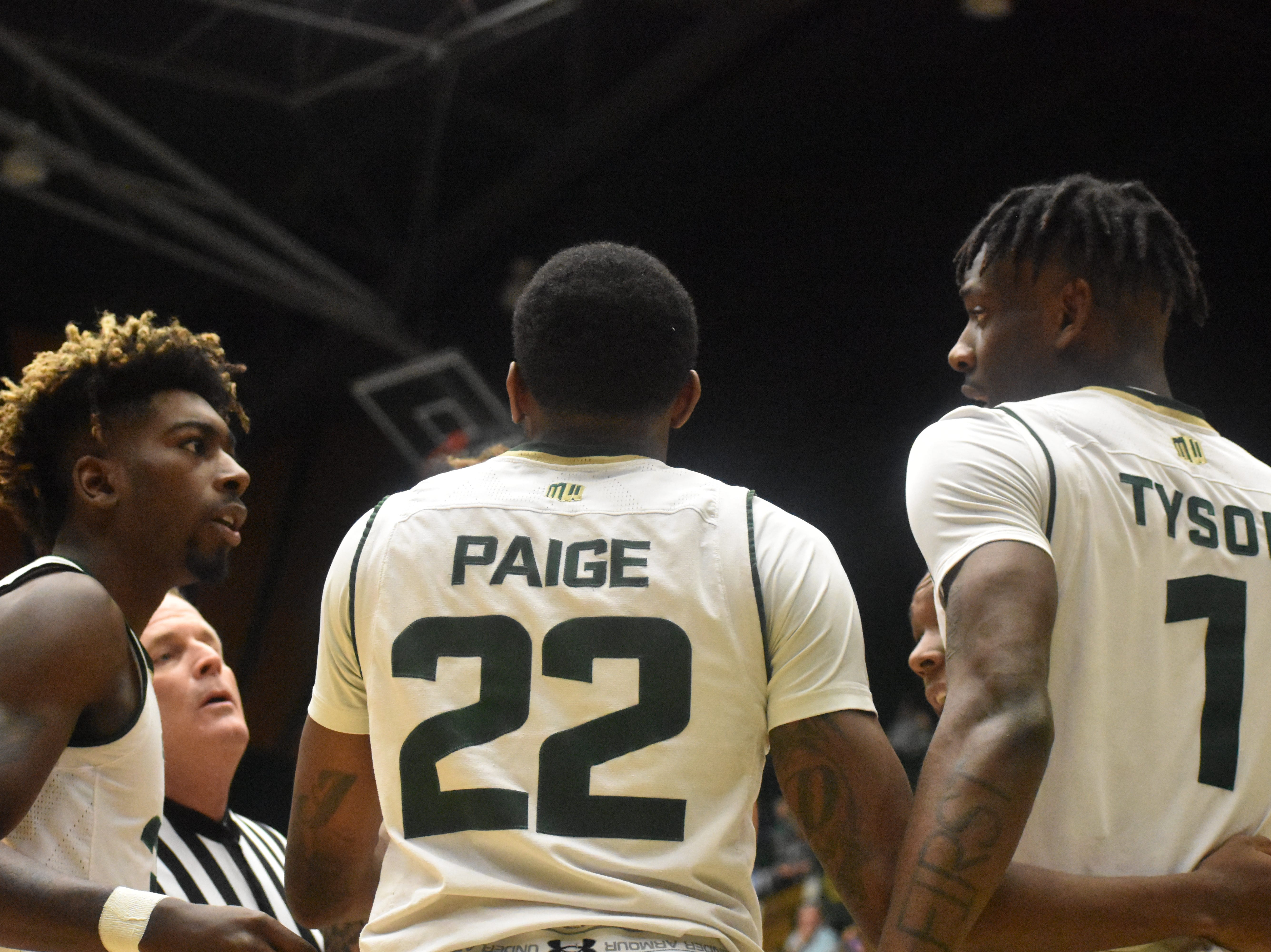 From left, CSU's Kris Martin, J.D. Paige and Zo Tyson talk after a whistle during Sunday's game against South Dakota at Moby Arena.