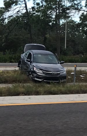 A car involved in a shooting incident along I-75 Sunday remains in the media between Corkscrew and Alico roads in the freeway's southbound lanes. The shooting forced those lanes to be closedbetween Corkscrew and Alico roads as units from theLee County Sheriff's Office and the Florida Highway Patrol carried out an investigation.