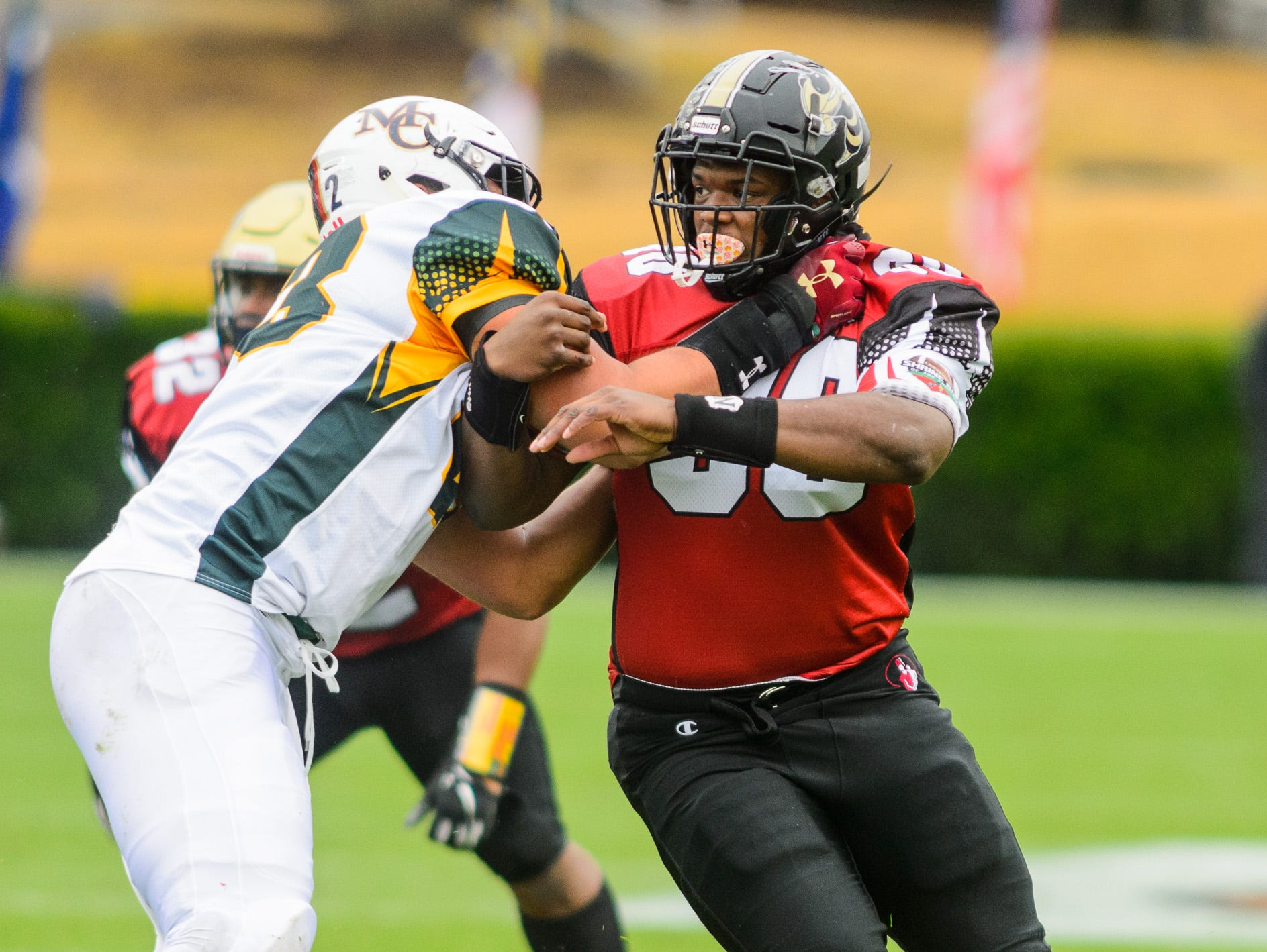 8T.L. Hanna defensive lineman Zacch Pickens (90) tries the get around a blocker during the 82nd annual Shrine Bowl of the Carolinas on Saturday, December 15, 2018 at Wofford's Gibbs Stadium in Spartanburg, SC.