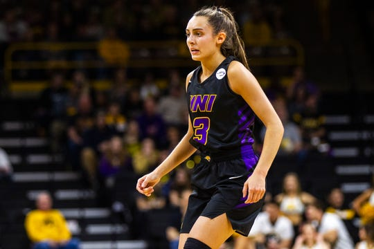 Northern Iowa guard Karli Rucker (3) is seen during a NCAA women's basketball game on Sunday, Dec. 16, 2018, at Carver-Hawkeye Arena in Iowa City.