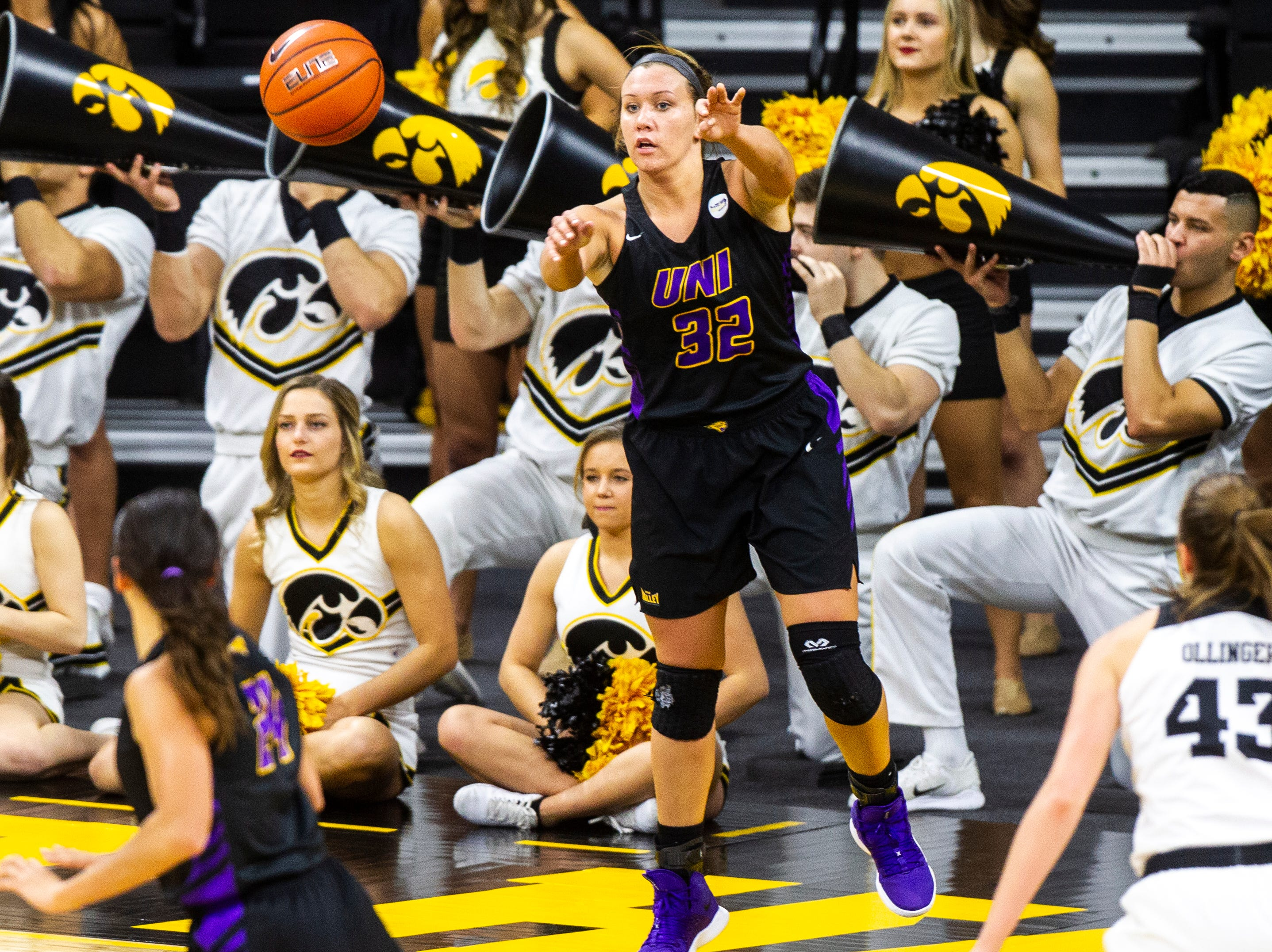 Northern Iowa forward Heidi Hillyard (32) inbounds the ball during a NCAA women's basketball game on Sunday, Dec. 16, 2018, at Carver-Hawkeye Arena in Iowa City.