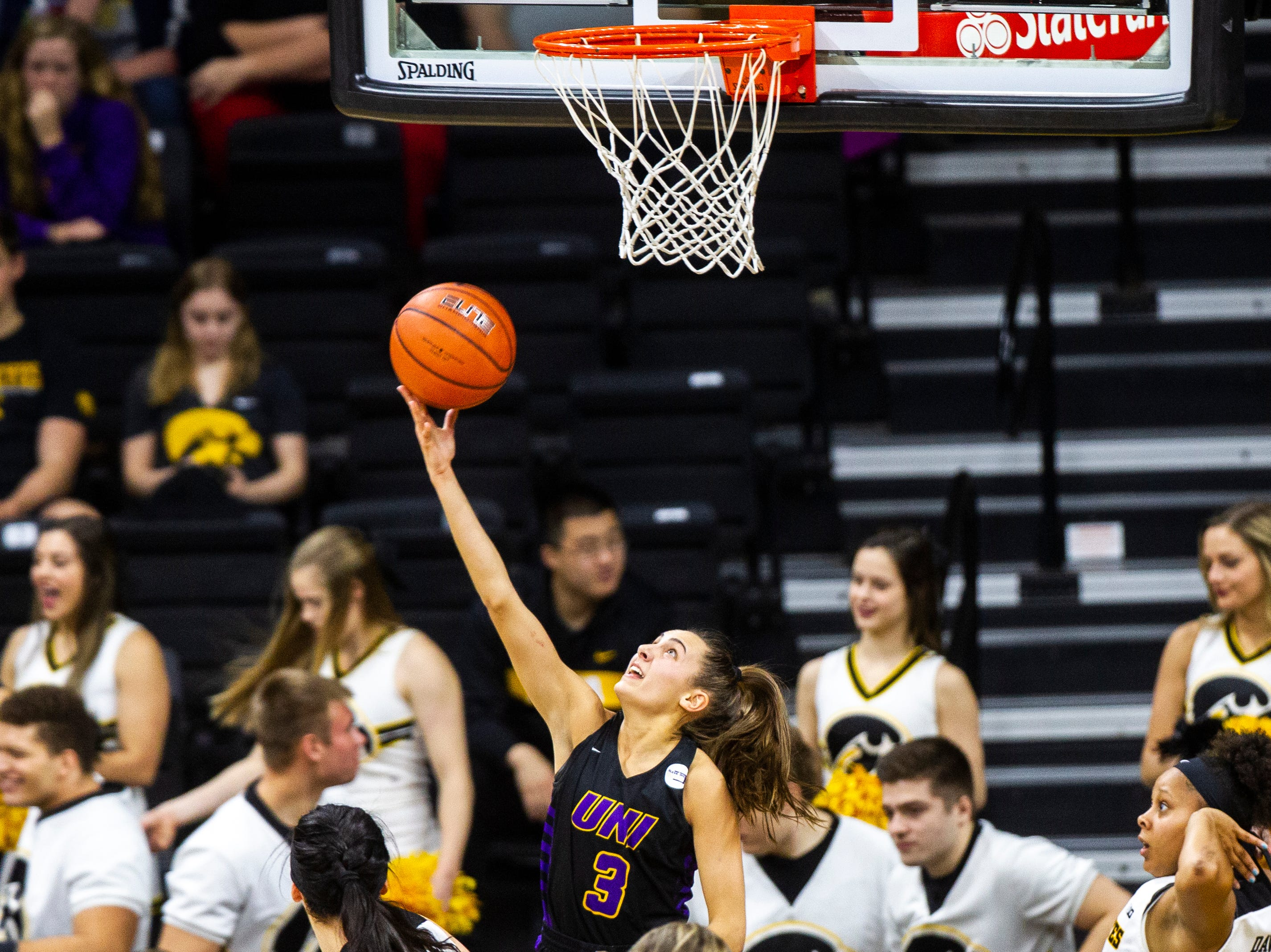 Northern Iowa guard Karli Rucker (3) attempts a basket during a NCAA women's basketball game on Sunday, Dec. 16, 2018, at Carver-Hawkeye Arena in Iowa City.