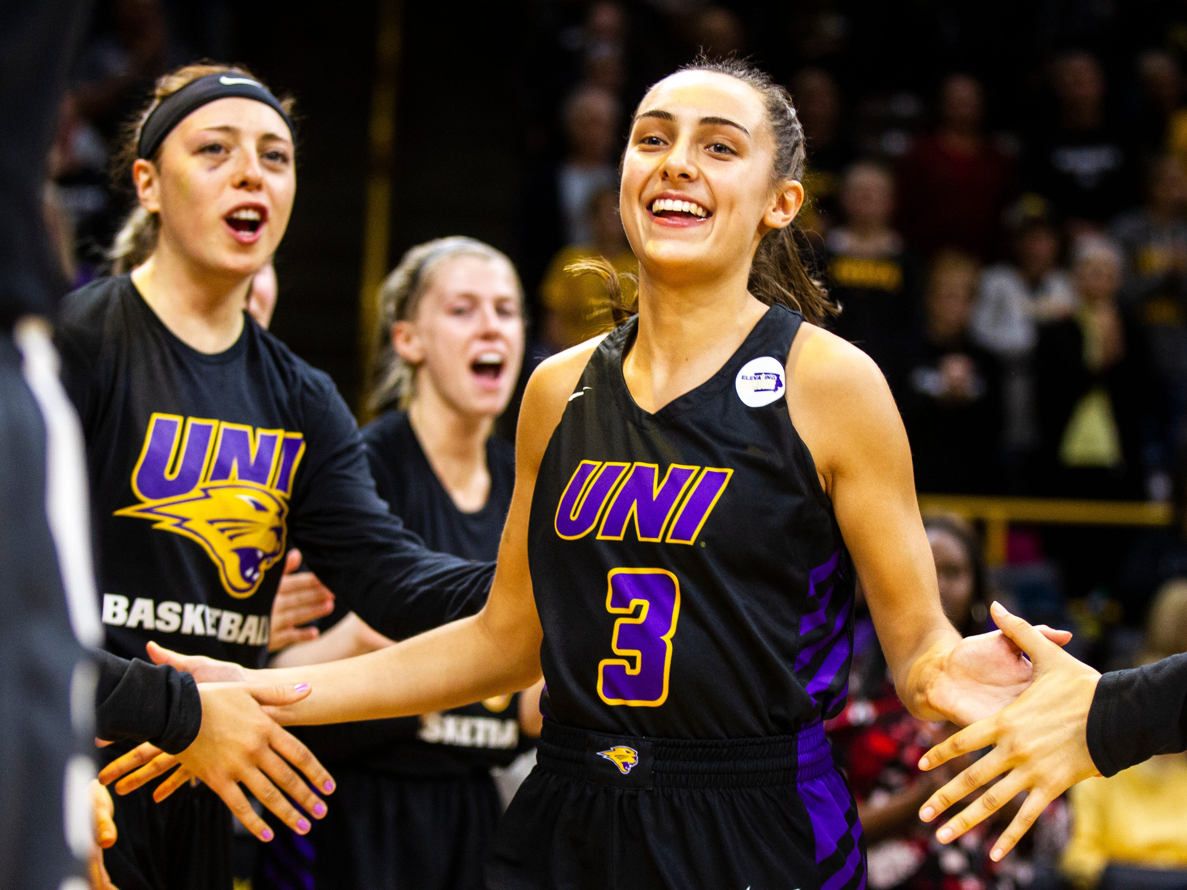 Northern Iowa guard Karli Rucker (3) is introduced during a NCAA women's basketball game on Sunday, Dec. 16, 2018, at Carver-Hawkeye Arena in Iowa City.