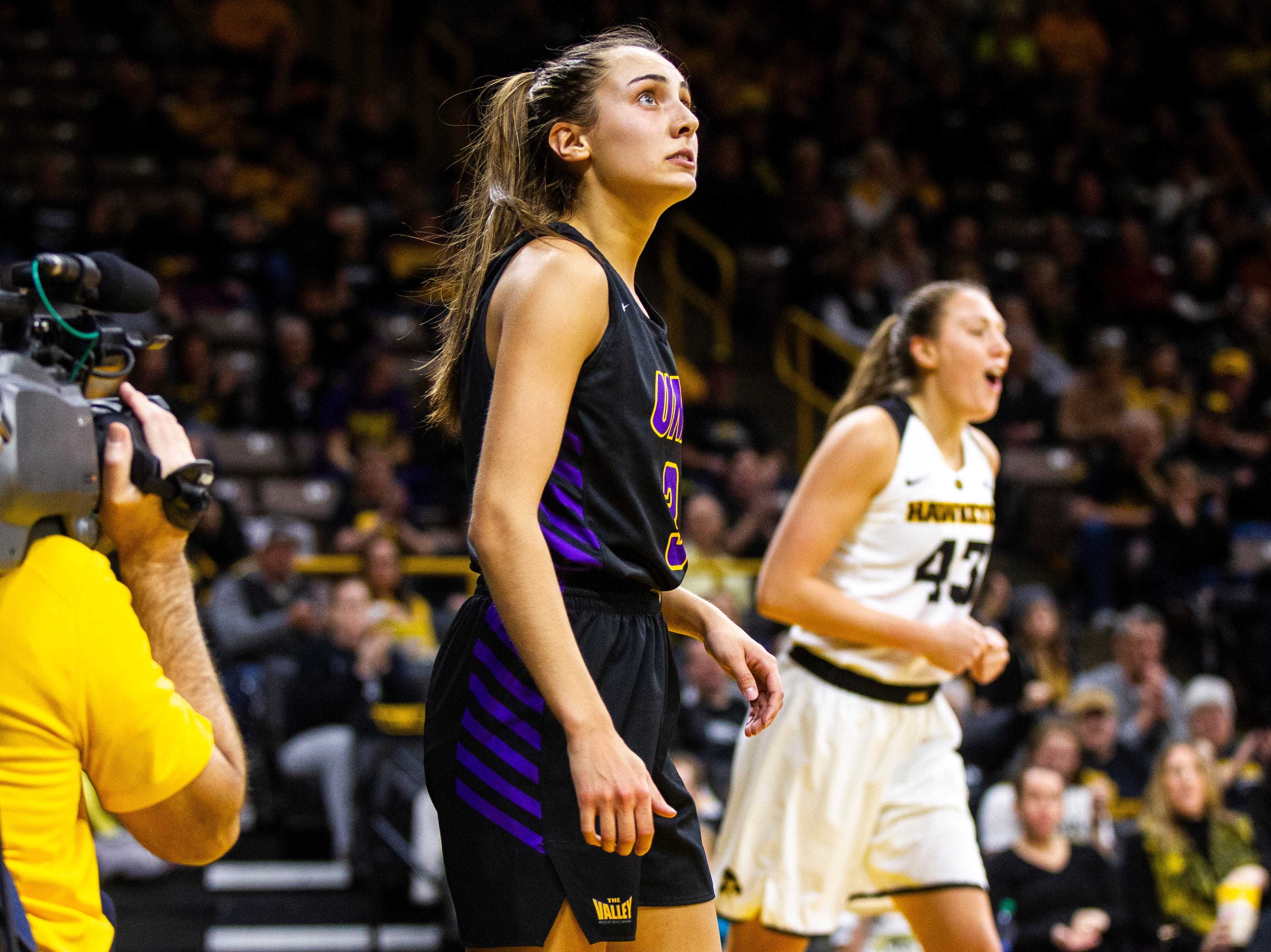 Northern Iowa guard Karli Rucker (3) looks up at a scoreboard after having her shot blocked during a NCAA women's basketball game on Sunday, Dec. 16, 2018, at Carver-Hawkeye Arena in Iowa City.