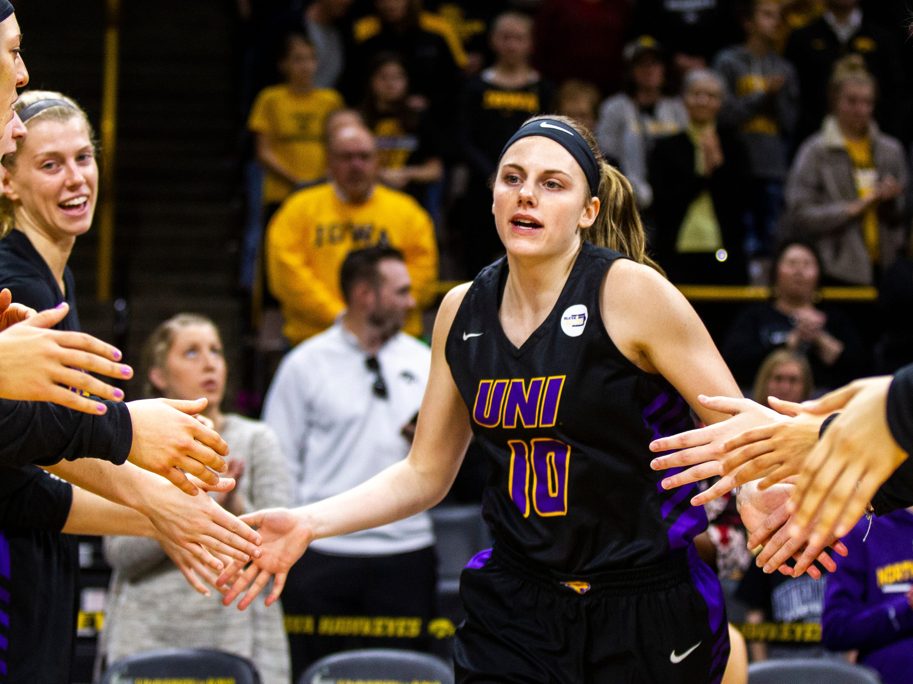Northern Iowa guard Ellie Howell (10) is introduced during a NCAA women's basketball game on Sunday, Dec. 16, 2018, at Carver-Hawkeye Arena in Iowa City.