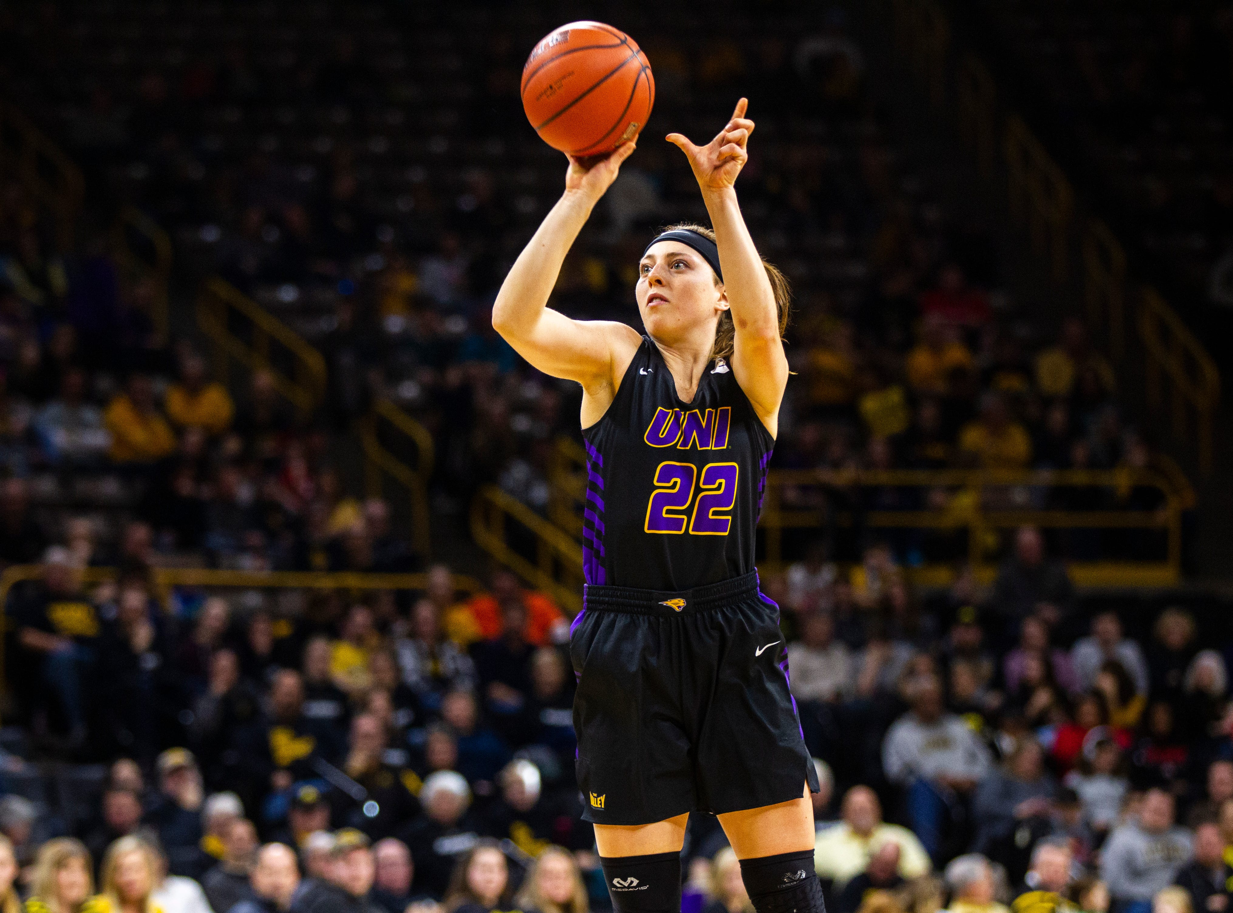 Northern Iowa guard Rose Simon-Ressler (22) shoots a 3-point basket during a NCAA women's basketball game on Sunday, Dec. 16, 2018, at Carver-Hawkeye Arena in Iowa City.