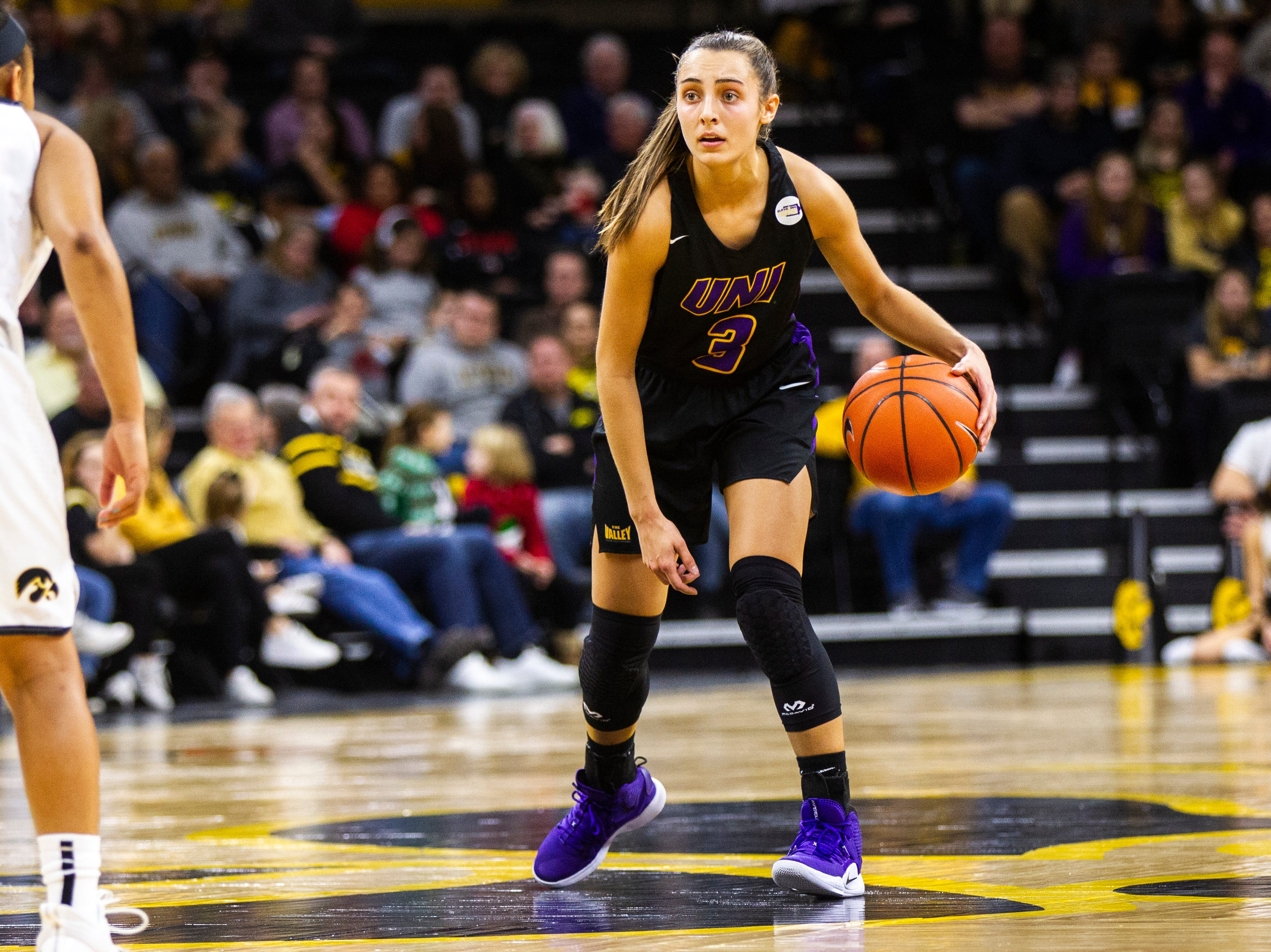 Northern Iowa guard Karli Rucker (3) looks over the court during a NCAA women's basketball game on Sunday, Dec. 16, 2018, at Carver-Hawkeye Arena in Iowa City.