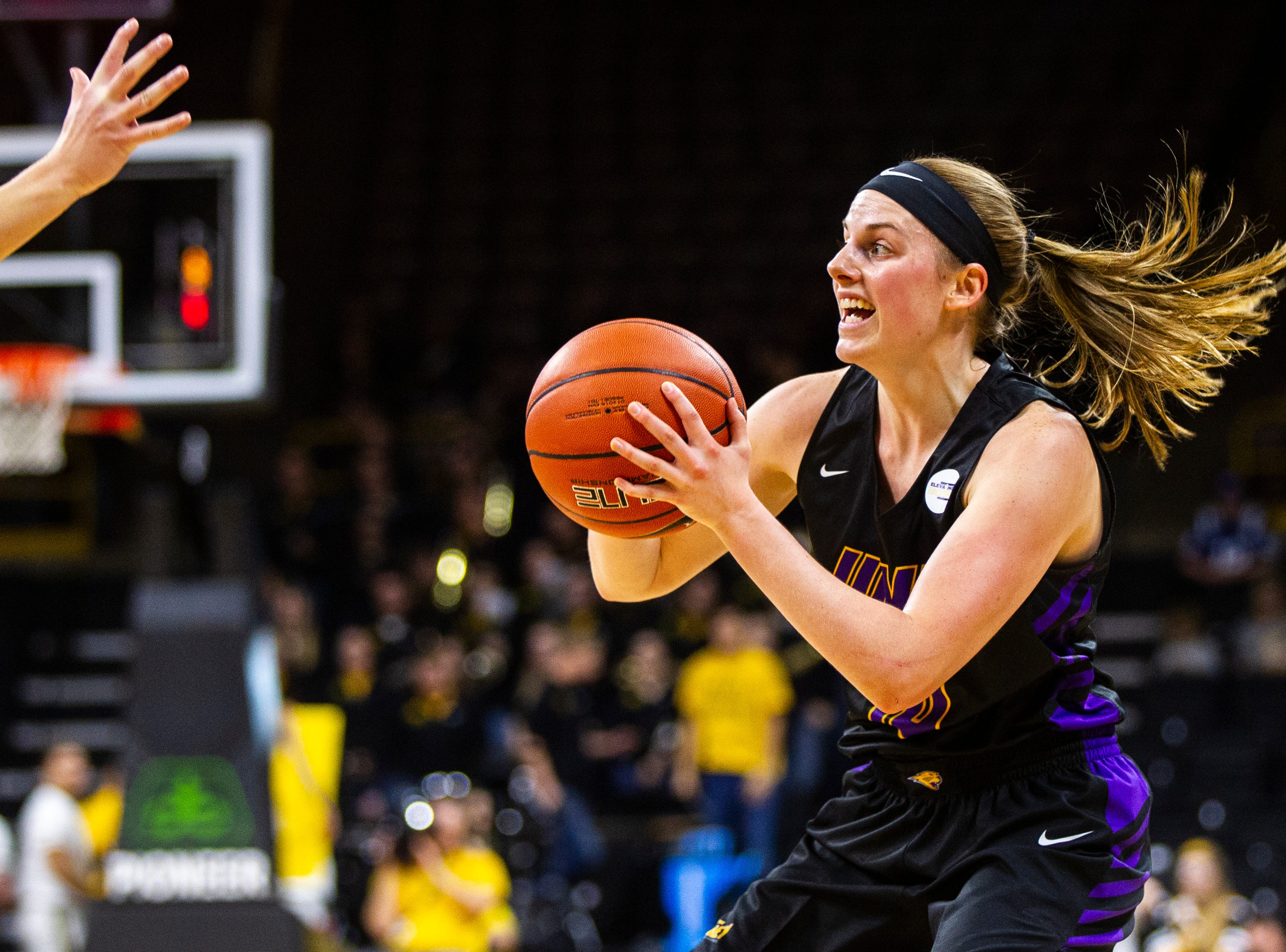 Northern Iowa guard Ellie Howell (10) looks to shoot during a NCAA women's basketball game on Sunday, Dec. 16, 2018, at Carver-Hawkeye Arena in Iowa City.
