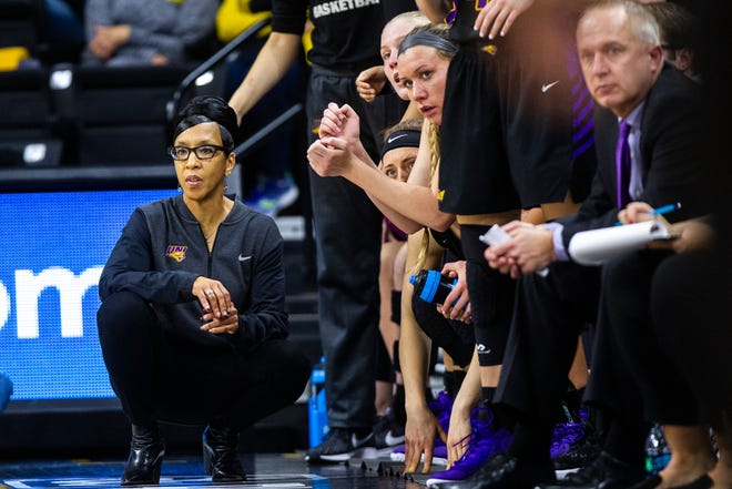 Northern Iowa head coach Tanya Warren looks on during a NCAA women's basketball game on Sunday, Dec. 16, 2018, at Carver-Hawkeye Arena in Iowa City.