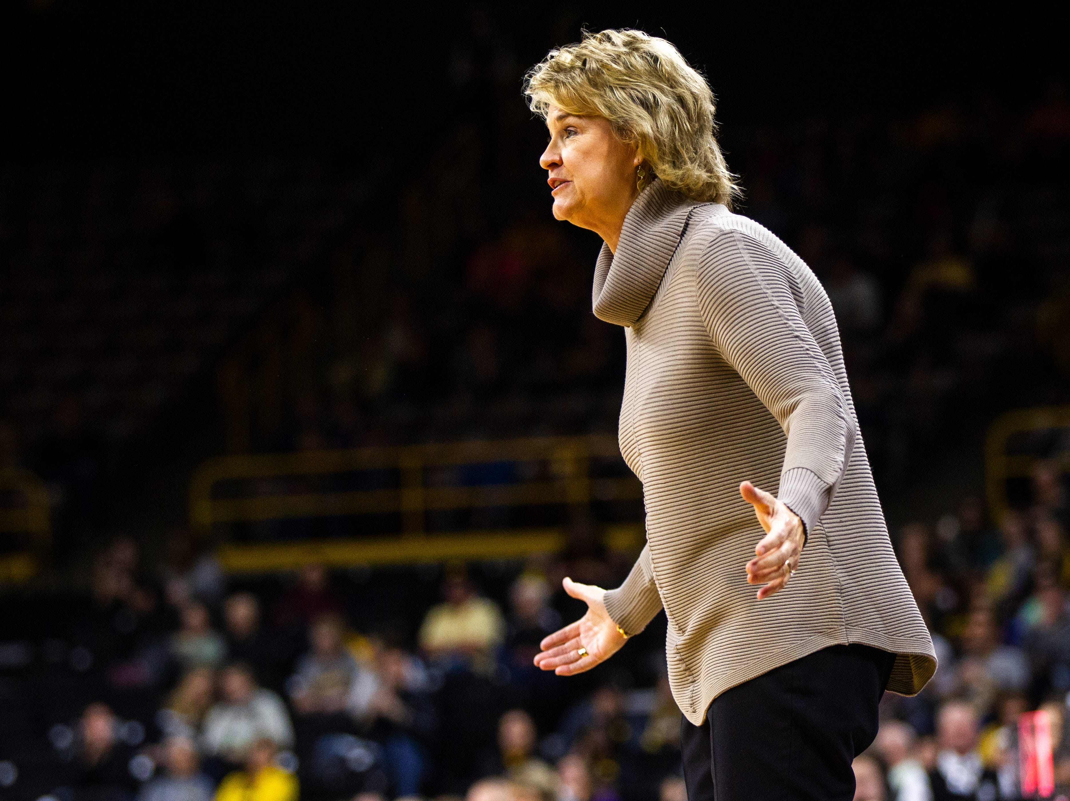 Iowa head coach Lisa Bluder reacts to a call during a NCAA women's basketball game on Sunday, Dec. 16, 2018, at Carver-Hawkeye Arena in Iowa City.