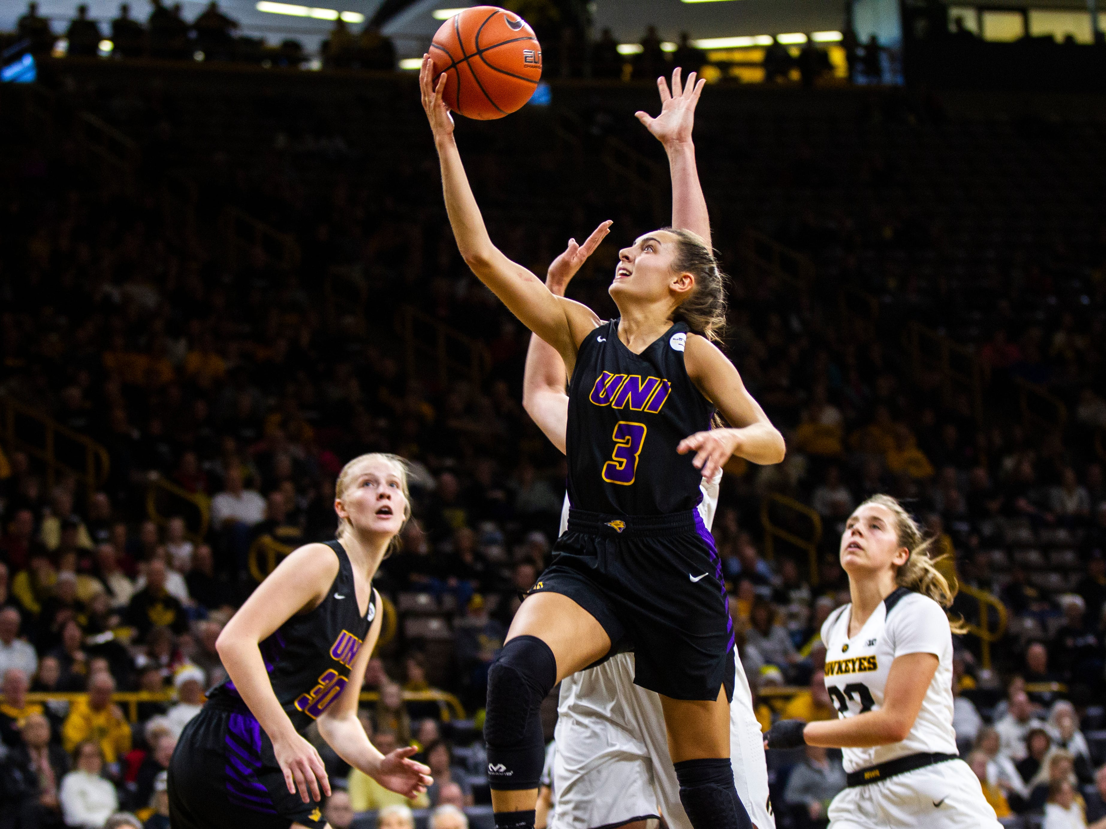 Northern Iowa guard Karli Rucker (3) makes a layup during a NCAA women's basketball game on Sunday, Dec. 16, 2018, at Carver-Hawkeye Arena in Iowa City.