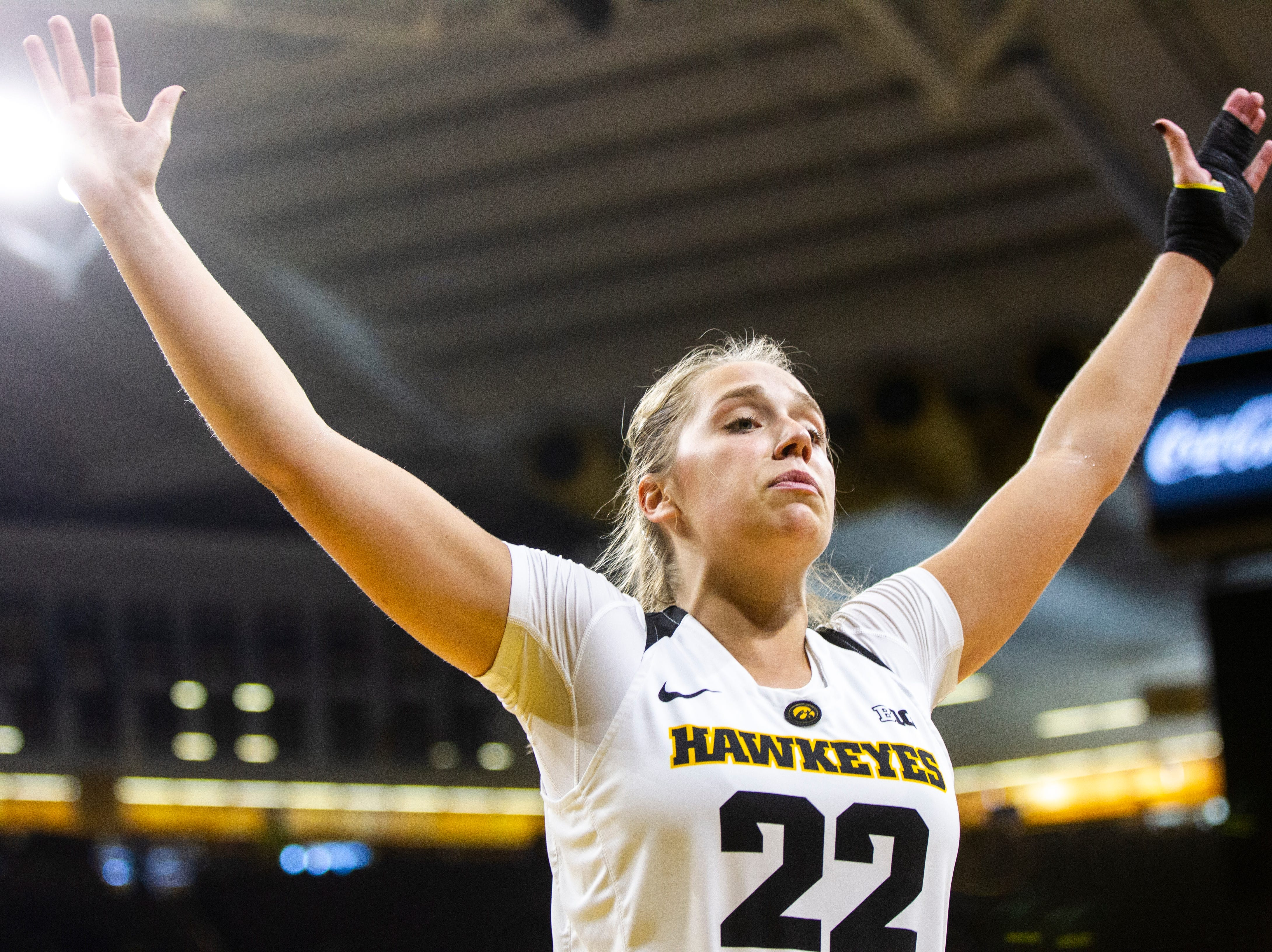 Iowa guard Kathleen Doyle (22) defends an inbound during a NCAA women's basketball game on Sunday, Dec. 16, 2018, at Carver-Hawkeye Arena in Iowa City.