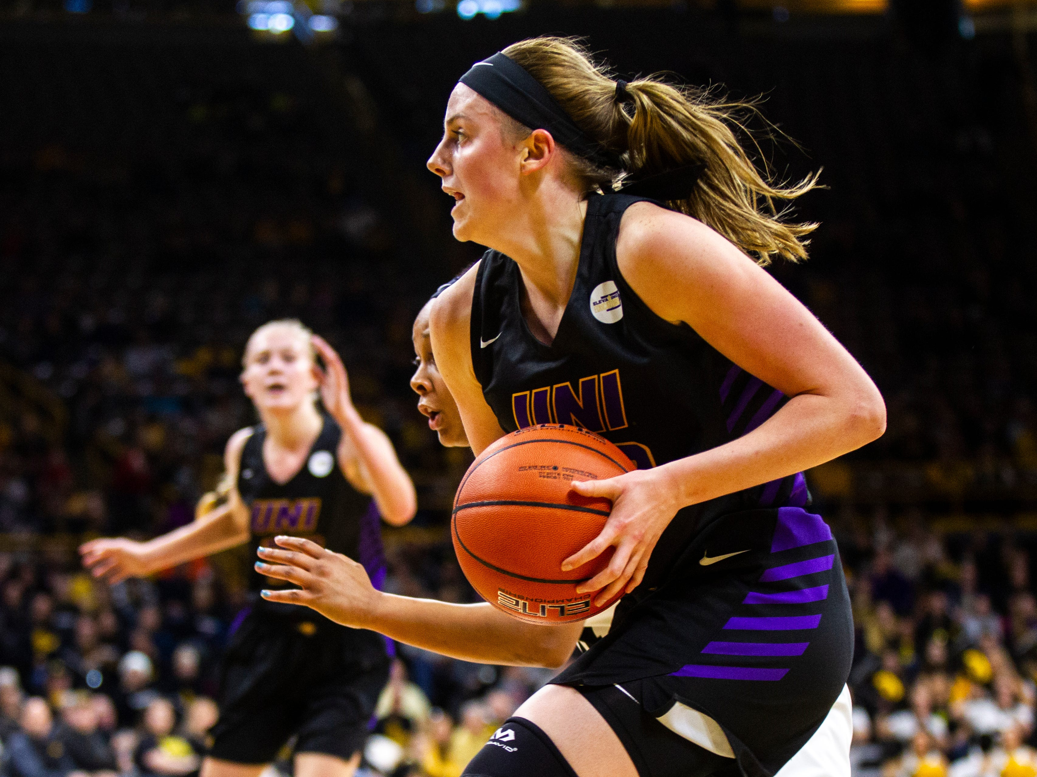 Northern Iowa guard Ellie Howell (10) drives to the hoop during a NCAA women's basketball game on Sunday, Dec. 16, 2018, at Carver-Hawkeye Arena in Iowa City.